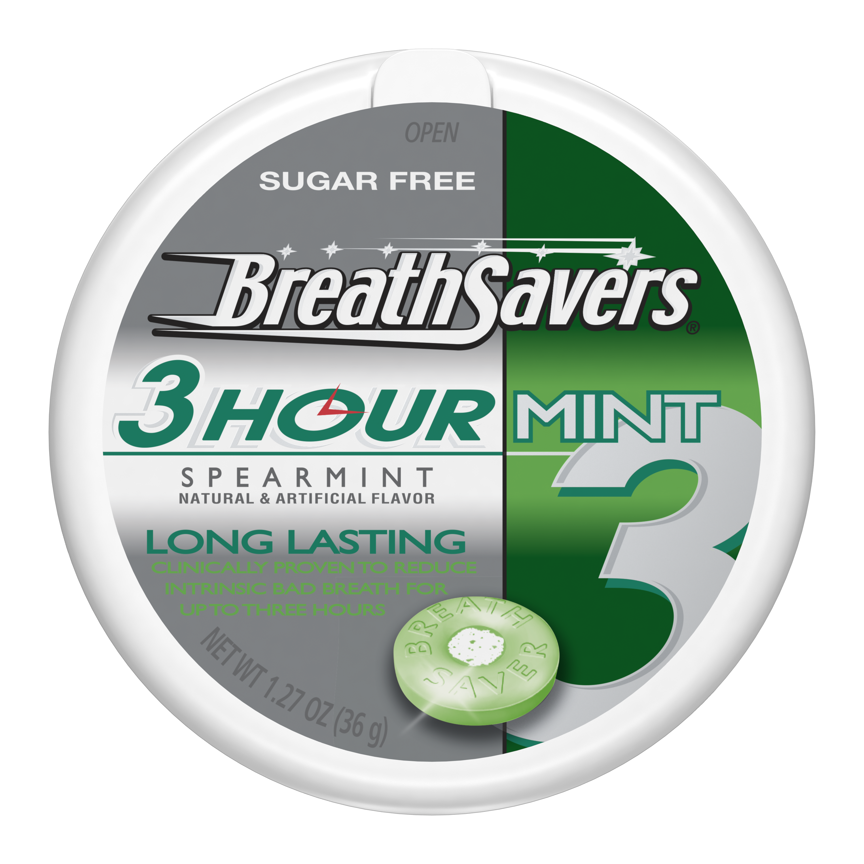 BREATH SAVERS 3-Hour Spearmint Sugar Free Mints, 1.27 oz puck - Front of Package