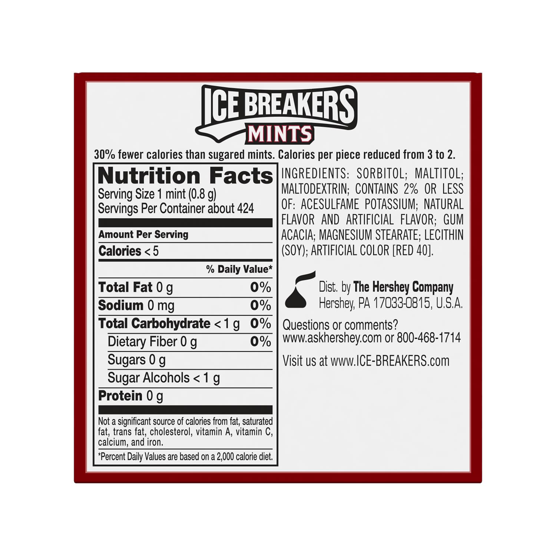 ICE BREAKERS Cinnamon Sugar Free Mints, 12 oz box, 8 pack - Back of Package