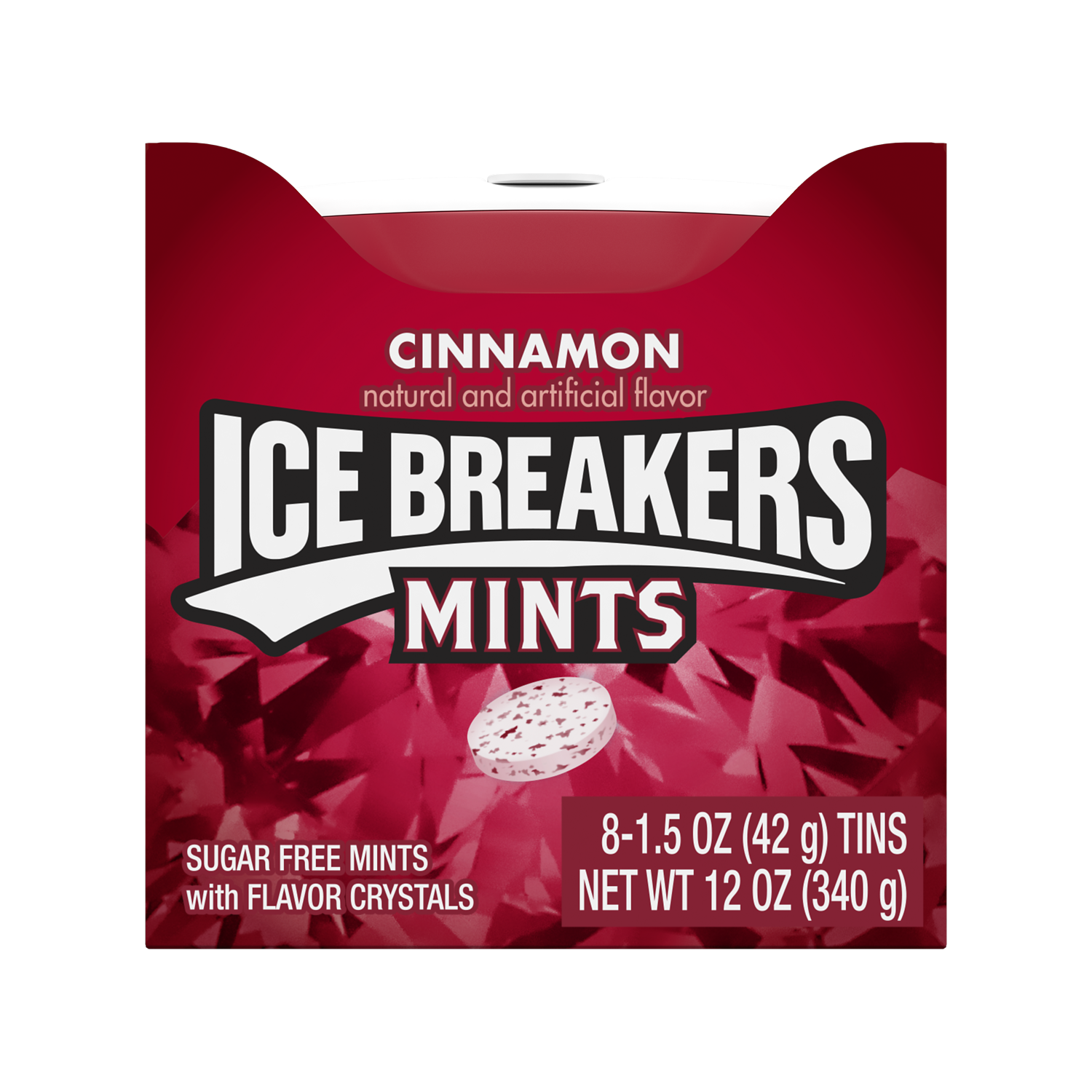 ICE BREAKERS Cinnamon Sugar Free Mints, 12 oz box, 8 pack - Front of Package