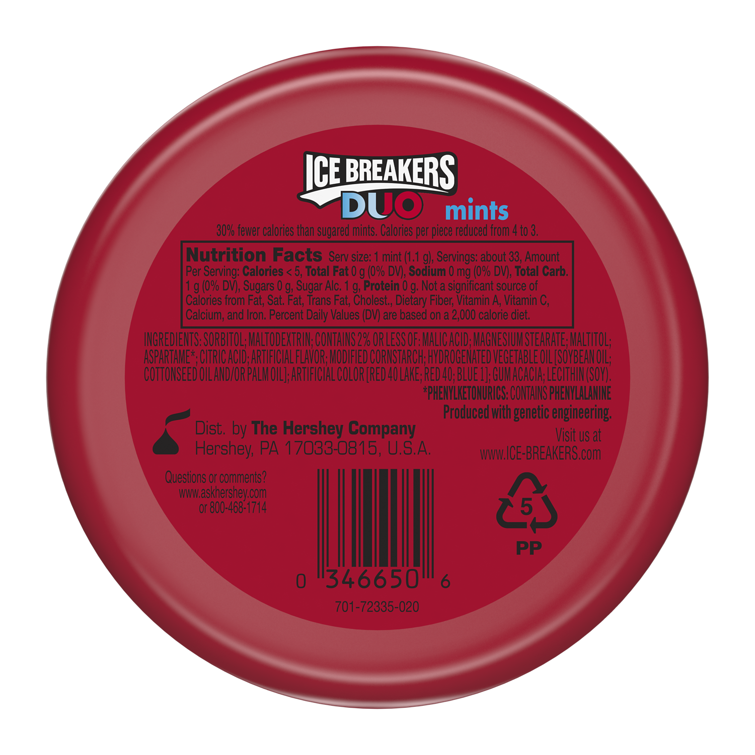 ICE BREAKERS DUO Strawberry Sugar Free Mints, 1.3 oz puck - Back of Package