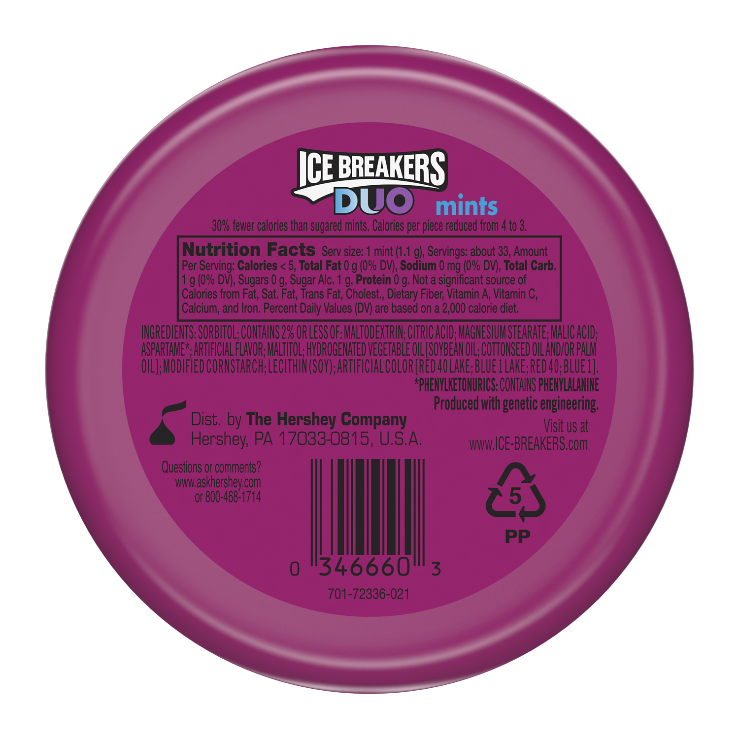 ICE BREAKERS DUO Raspberry Sugar Free Mints, 1.3 oz puck - Back of Package