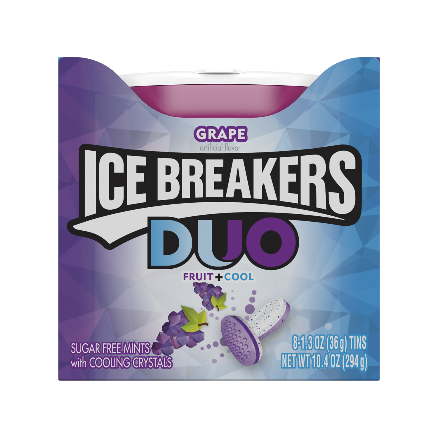 ICE BREAKERS DUO Grape Sugar Free Mints, 10.4 oz box, 8 pack - Front of Package