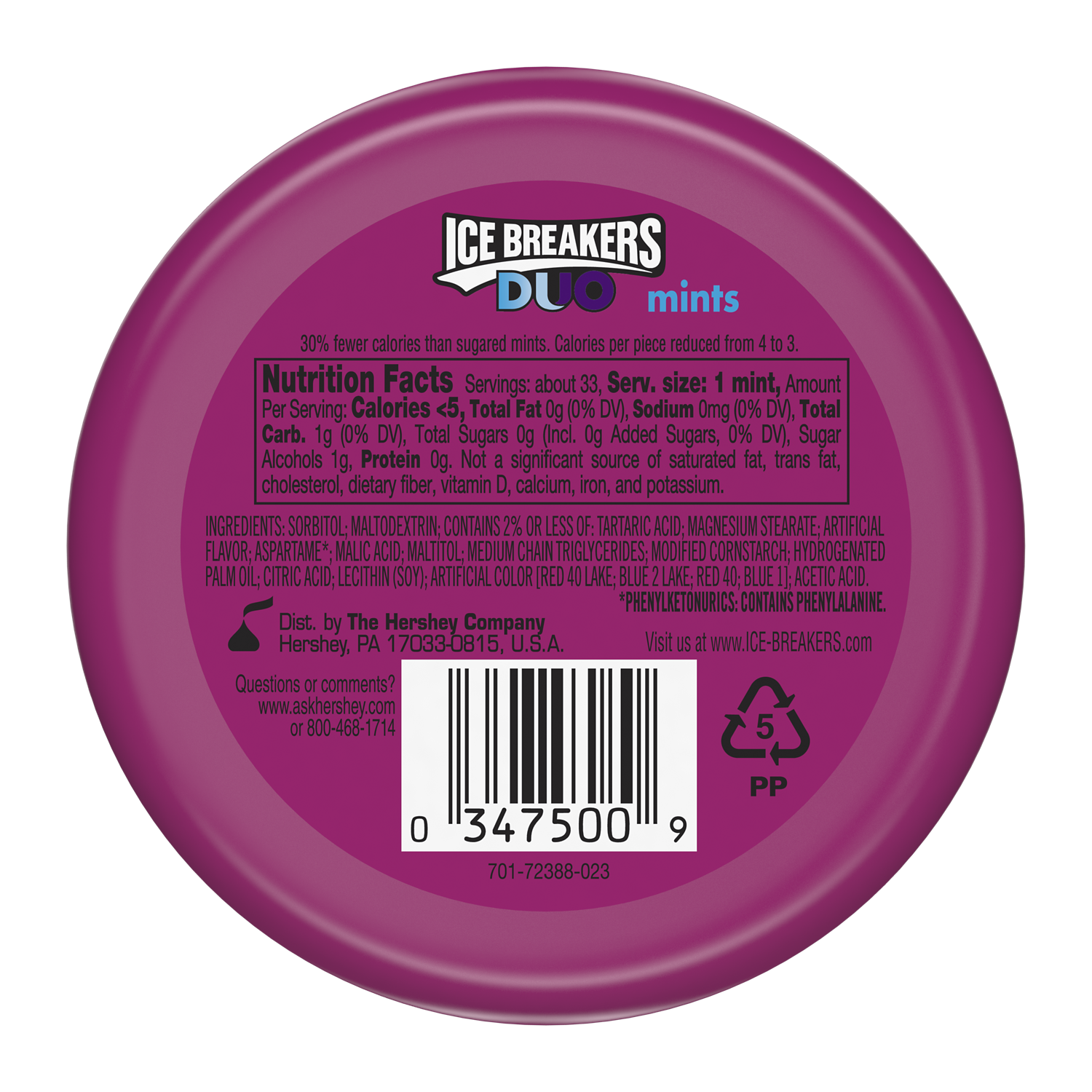 ICE BREAKERS DUO Grape Sugar Free Mints, 1.3 oz puck - Back of Package