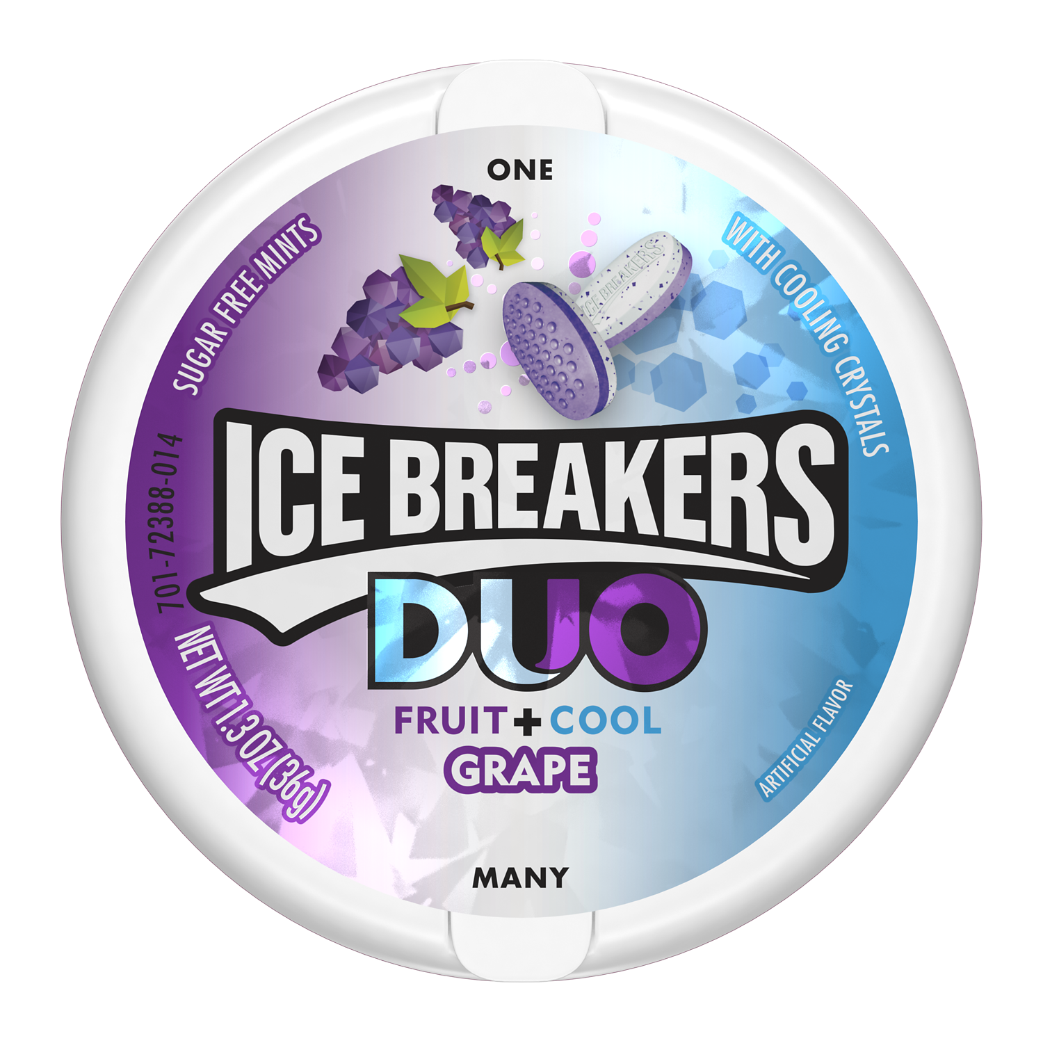ICE BREAKERS DUO Grape Sugar Free Mints, 1.3 oz puck - Front of Package