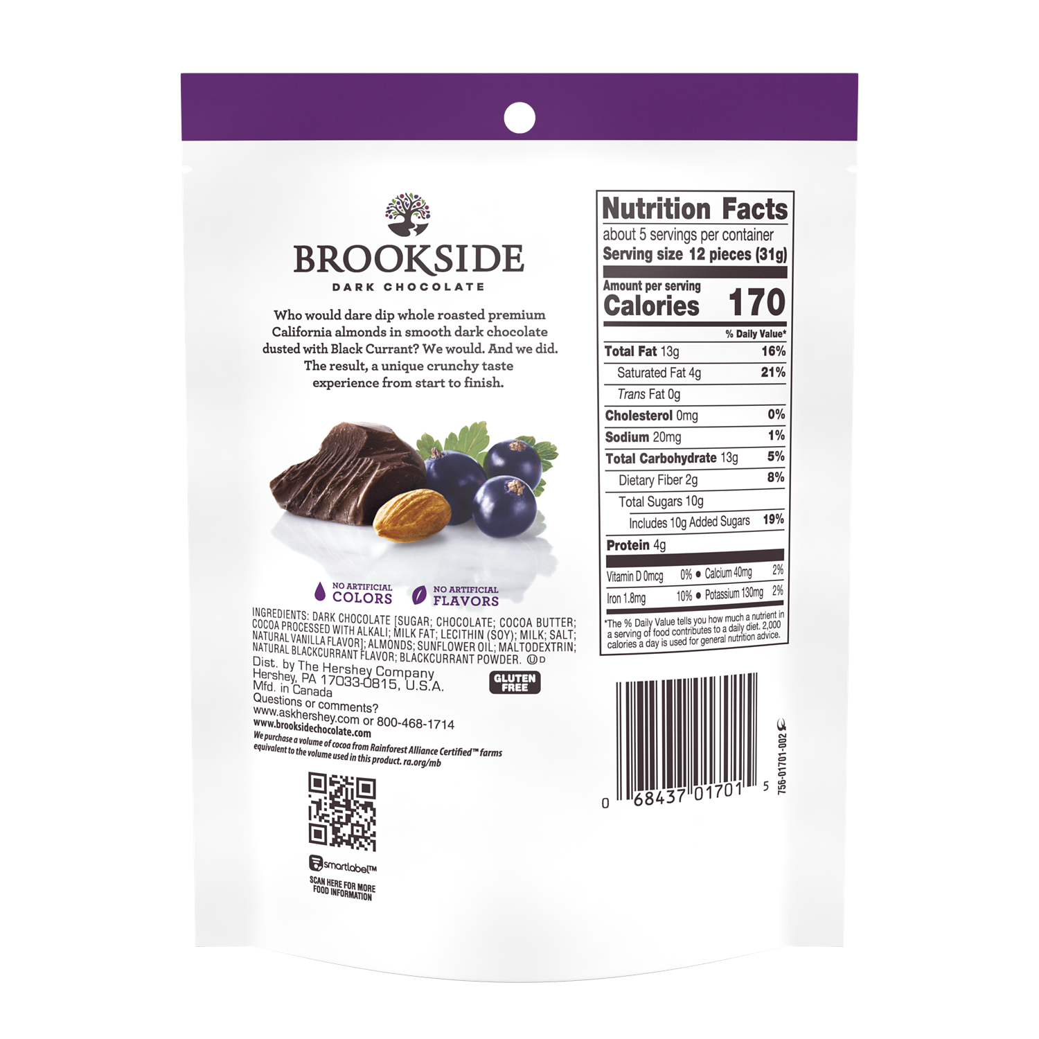 BROOKSIDE Dark Chocolate Whole Almonds Dusted with Black Currant Candy, 5.5 oz bag - Back of Package