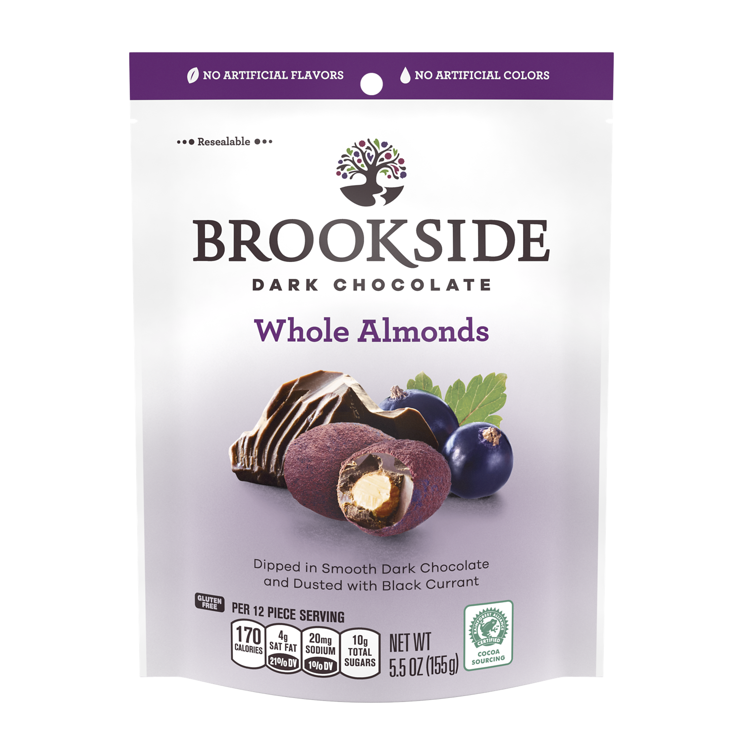 BROOKSIDE Dark Chocolate Whole Almonds Dusted with Black Currant Candy, 5.5 oz bag - Front of Package