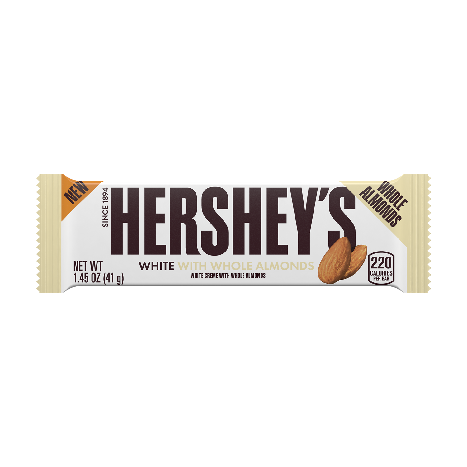 HERSHEY'S White Creme with Almonds Candy Bar, 1.45 oz - Front of Package
