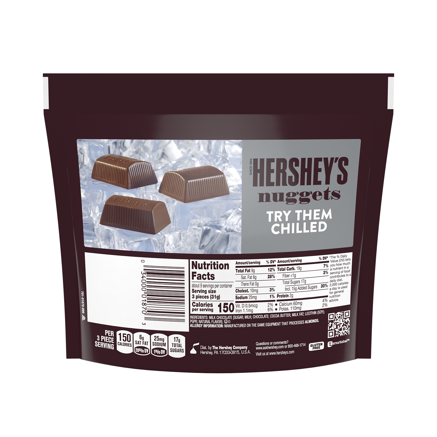 HERSHEY'S NUGGETS Milk Chocolate Candy, 10.2 oz pack - Back of Package