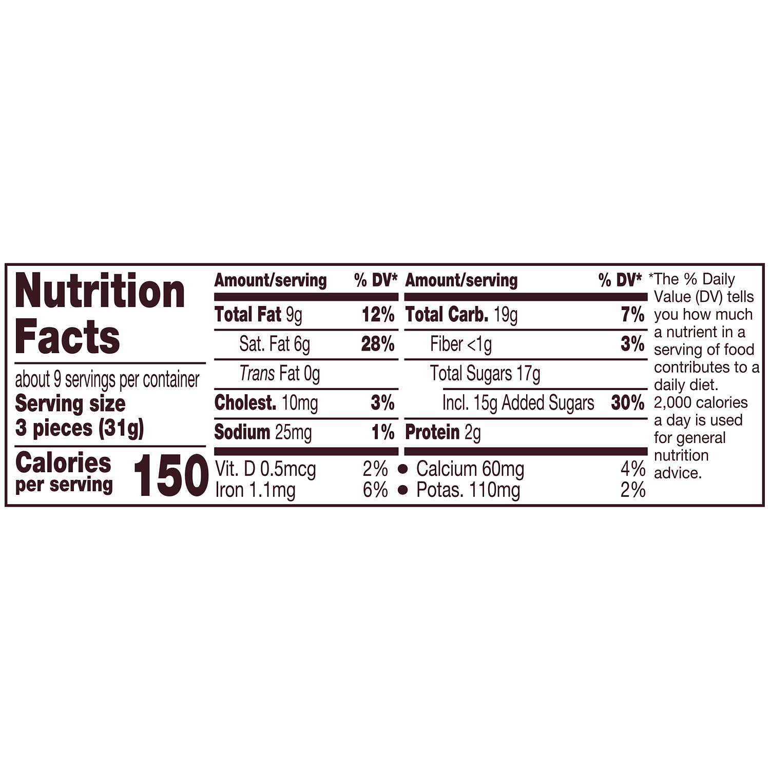 HERSHEY'S NUGGETS Milk Chocolate Candy, 10.2 oz pack - Nutritional Facts