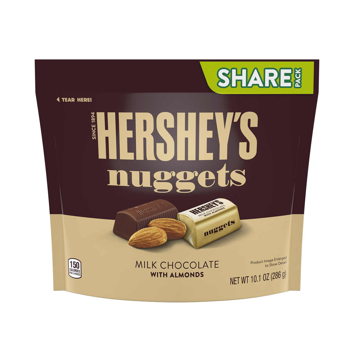 HERSHEY'S NUGGETS Milk Chocolate with Almonds Candy, 10.1 oz pack - Front of Package