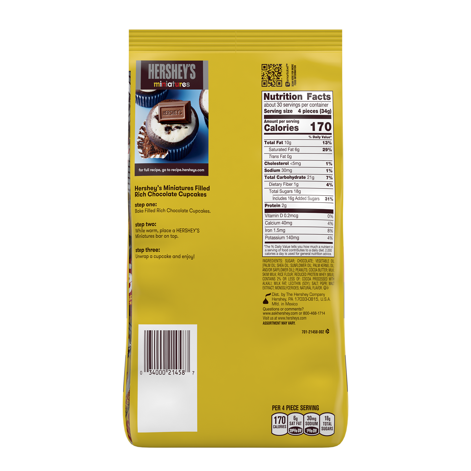 HERSHEY'S Miniatures Assortment, 35.9 oz pack - Back of Package