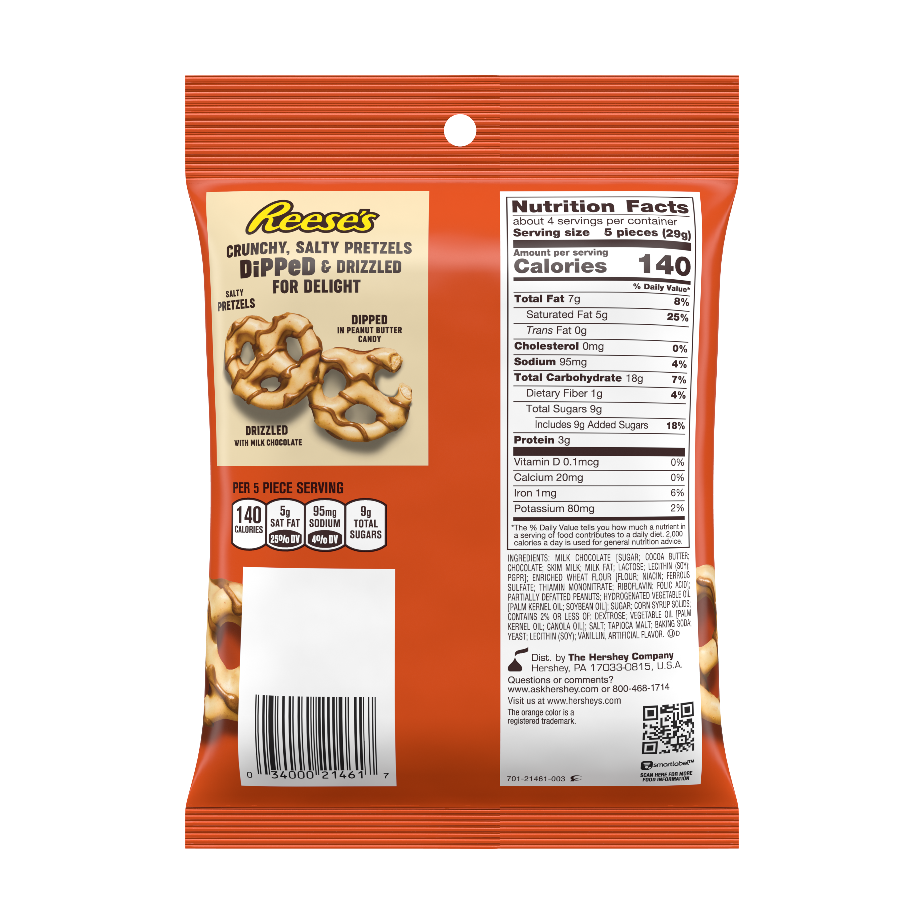 REESE'S Dipped Pretzels Milk Chocolate Peanut Butter Snack, 4.25 oz bag - Back of Package