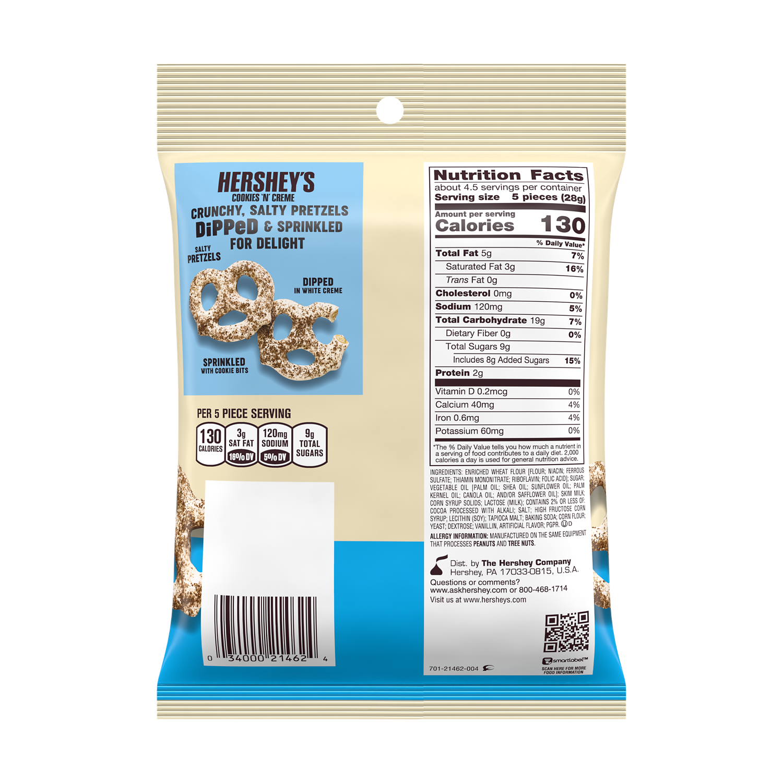 HERSHEY'S Dipped Pretzels COOKIES 'N' CREME Snack, 4.25 oz bag - Back of Package