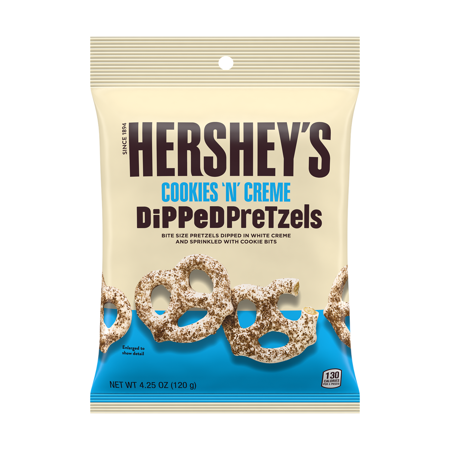 HERSHEY'S Dipped Pretzels COOKIES 'N' CREME Snack, 4.25 oz bag - Front of Package