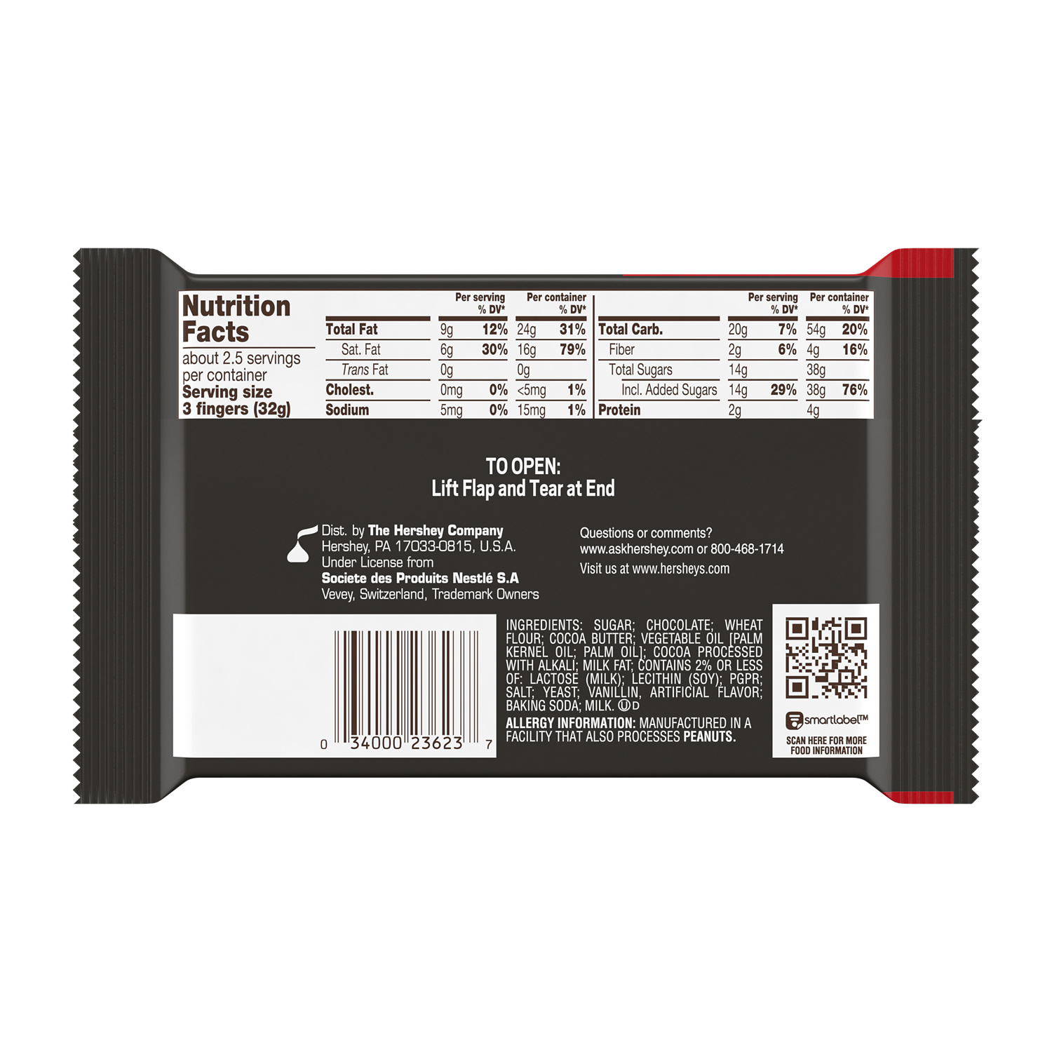 KIT KAT® Dark Chocolate King Size Candy Bar, 3 oz - Back of Package