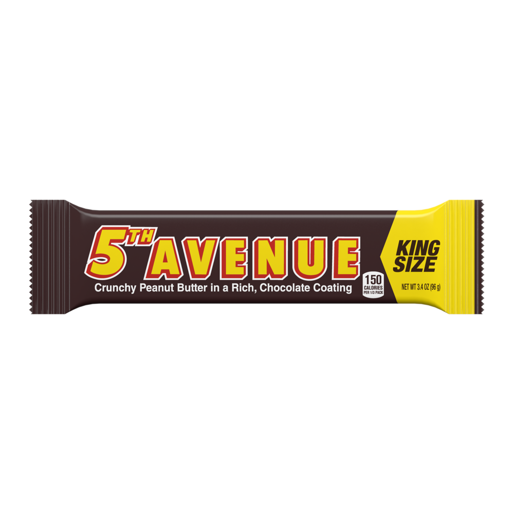 5TH AVENUE Crunchy Peanut Butter in Chocolate King Size Candy Bar, 3.4 oz - Front of Package