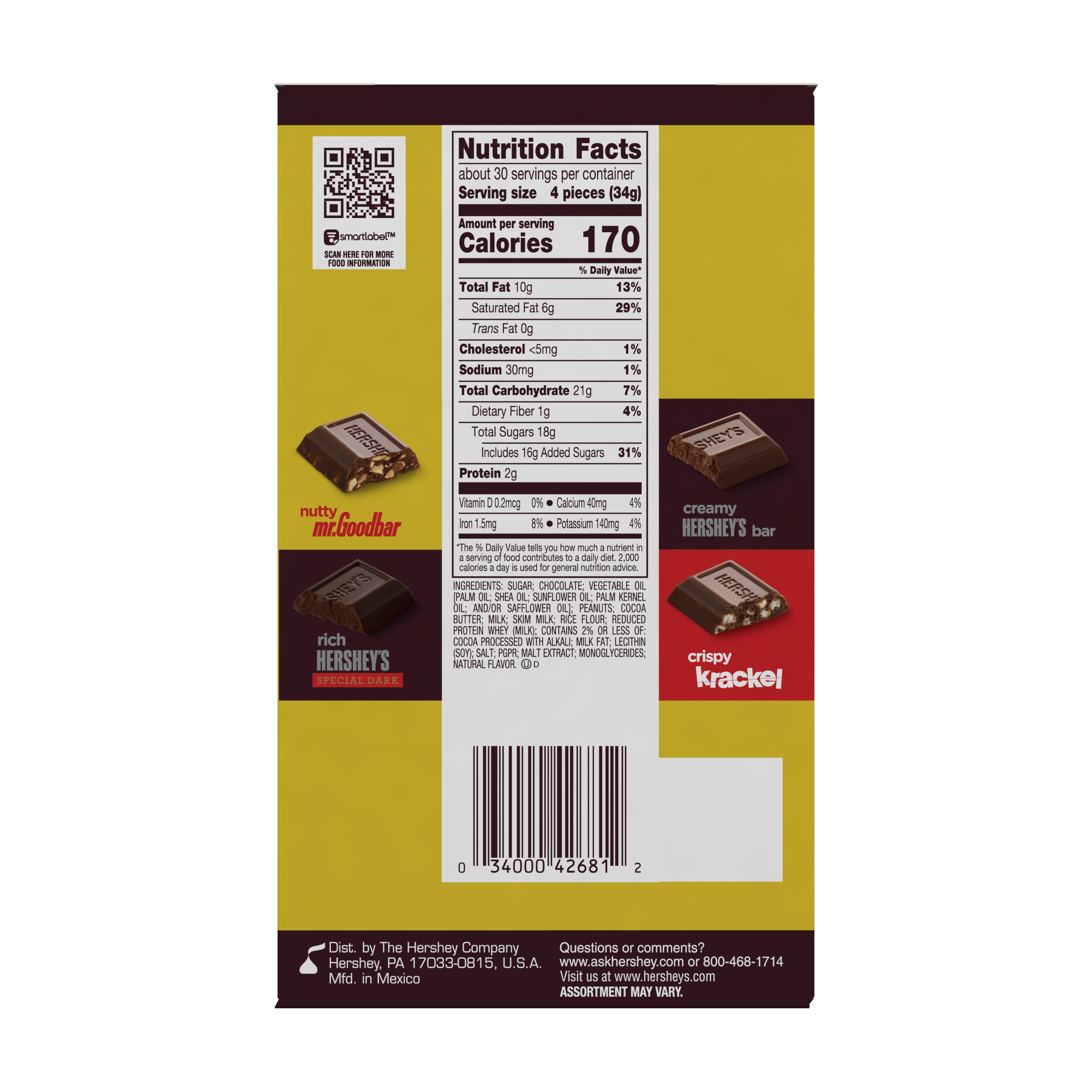 HERSHEY'S Chocolate Miniatures Candy, 36 oz box, 120 pieces - Back of Package