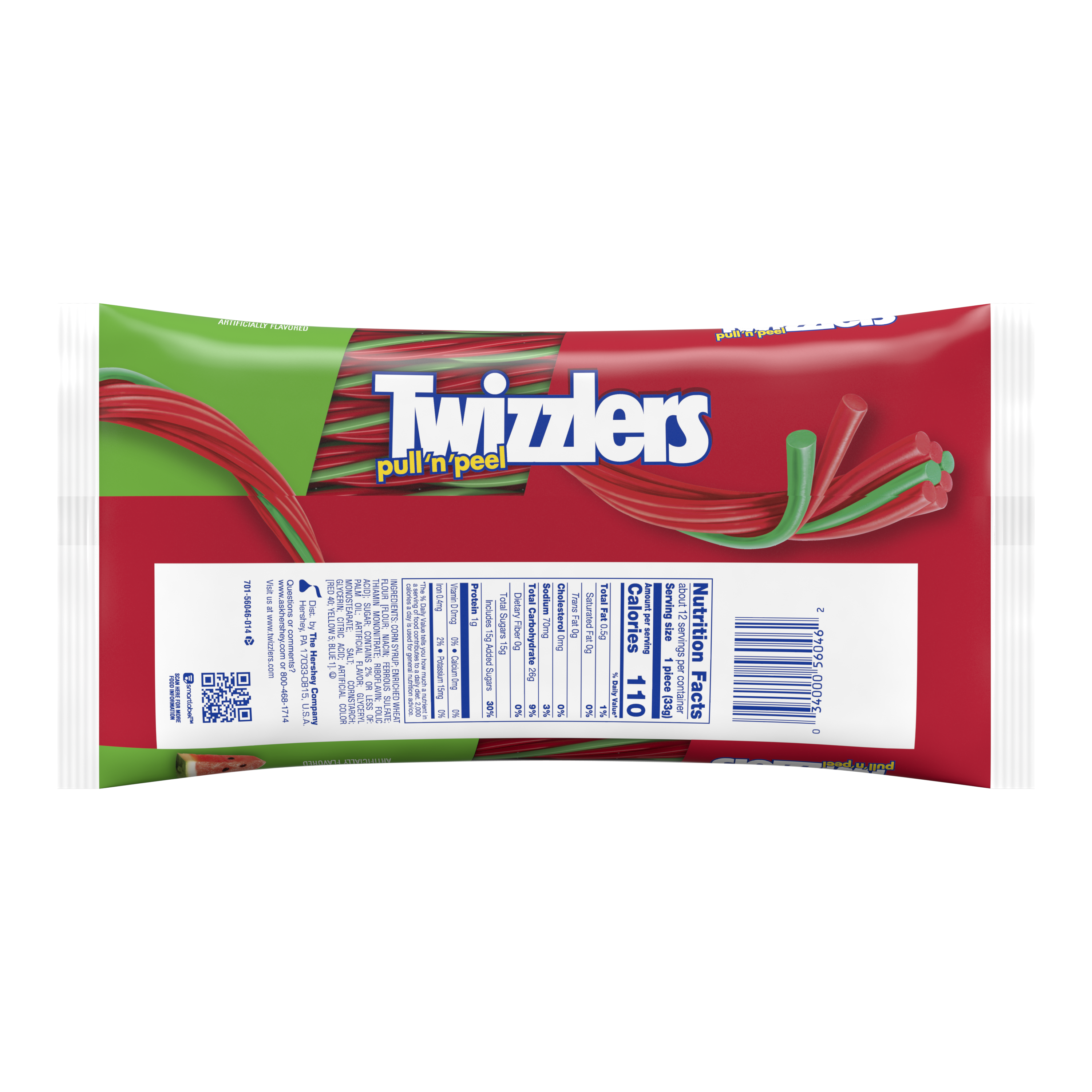 TWIZZLERS PULL 'N' PEEL Watermelon Flavored Candy, 14 oz bag - Back of Package