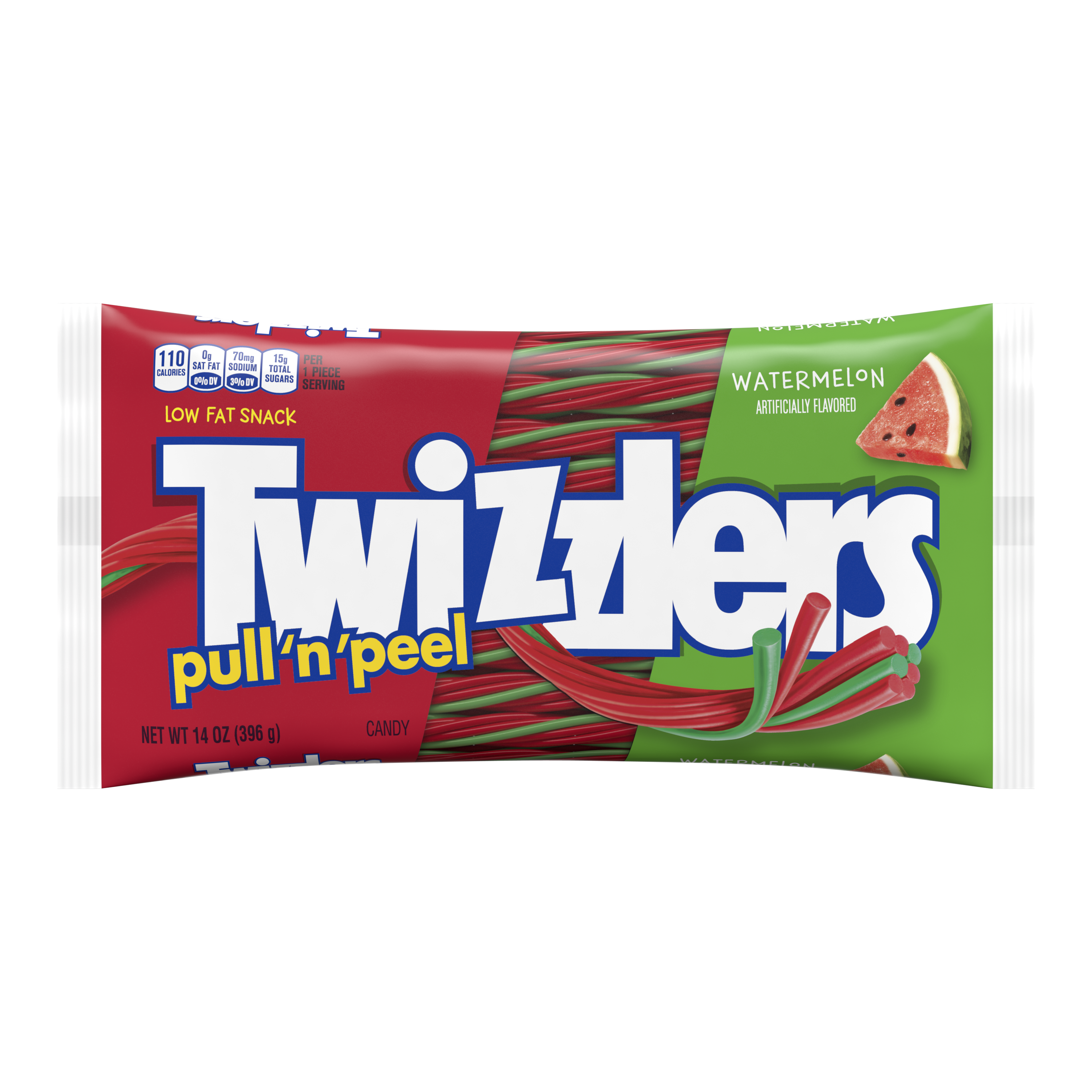 TWIZZLERS PULL 'N' PEEL Watermelon Flavored Candy, 14 oz bag - Front of Package