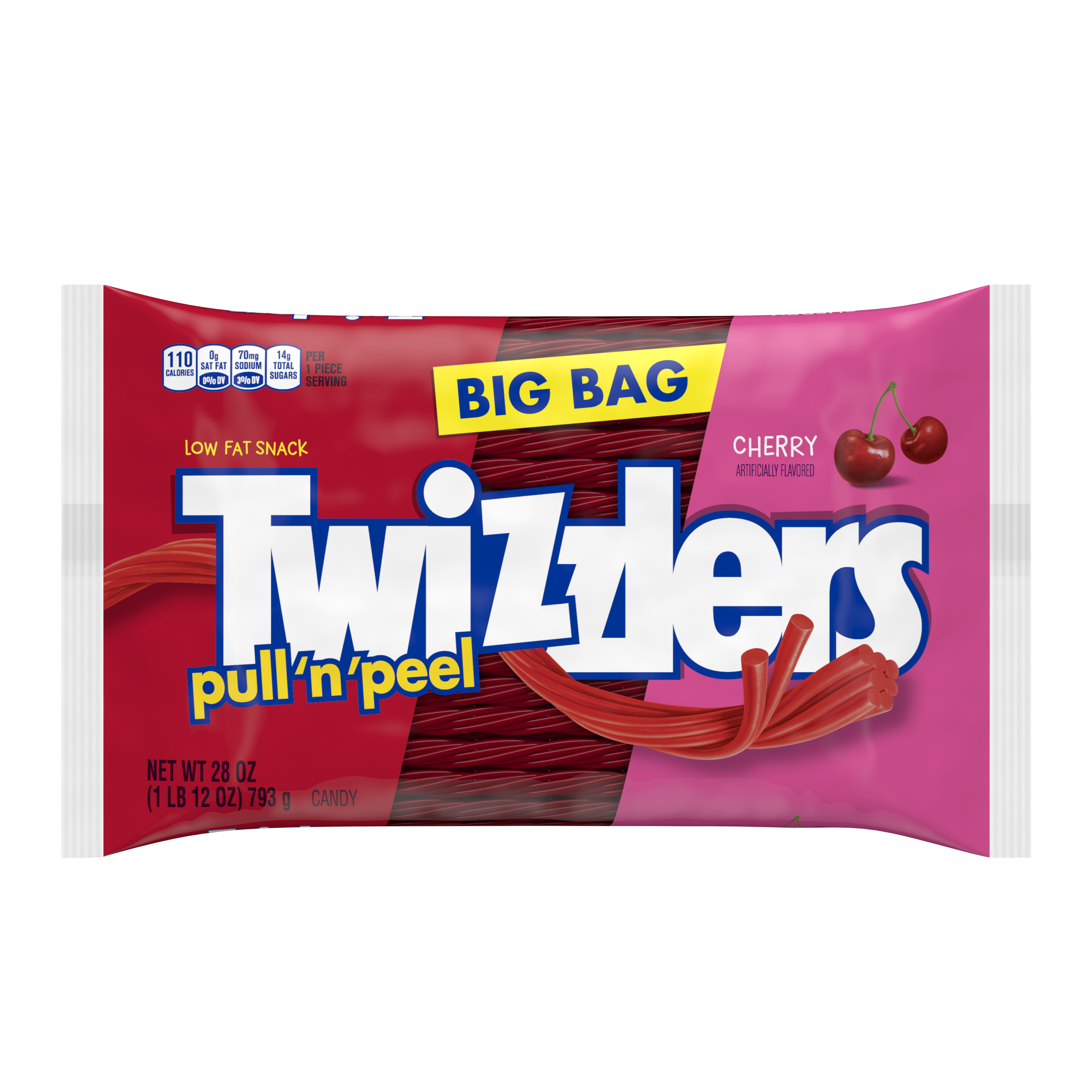 TWIZZLERS PULL 'N' PEEL Cherry Flavored Candy, 28 oz bag - Front of Package