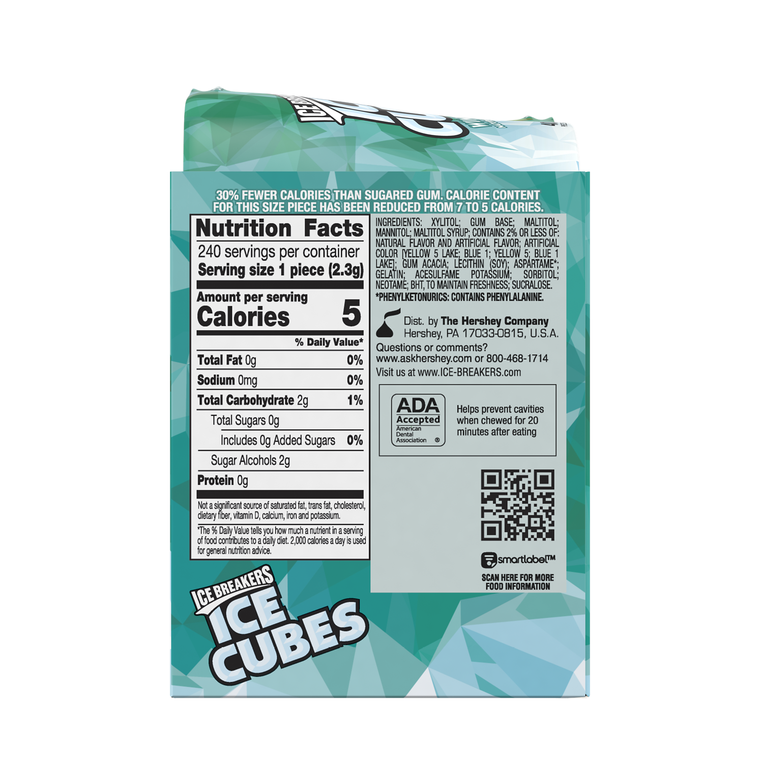ICE BREAKERS ICE CUBES Wintergreen Sugar Free Gum, 19.44 oz box, 6 pack - Back of Package