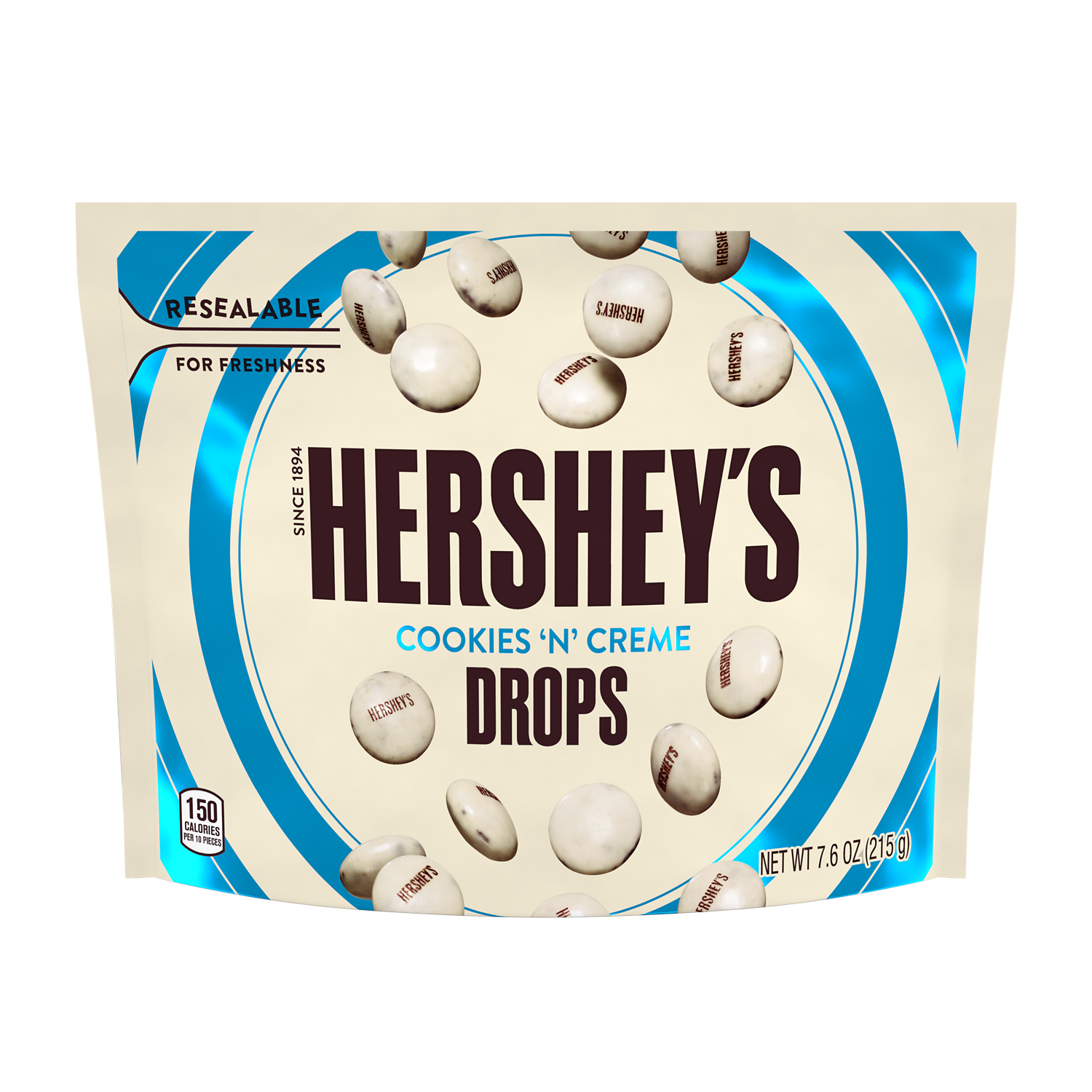 HERSHEY'S DROPS COOKIES 'N' CREME Candy, 7.6 oz bag - Front of Package