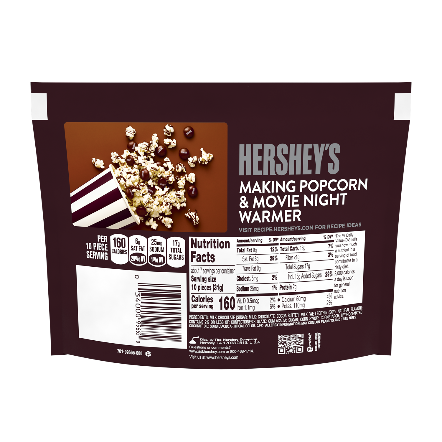 HERSHEY'S DROPS Milk Chocolate Candy, 7.6 oz bag - Back of Package