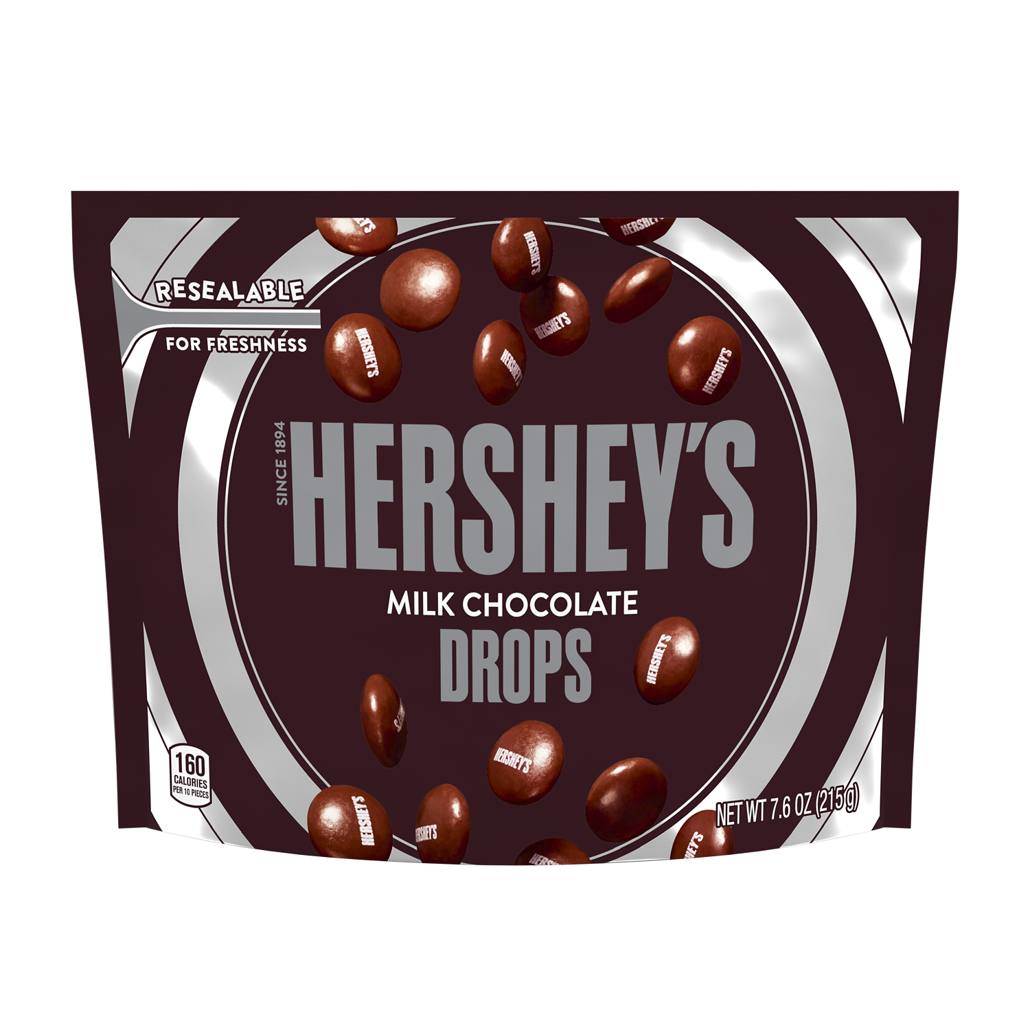 HERSHEY'S DROPS Milk Chocolate Candy, 7.6 oz bag - Front of Package