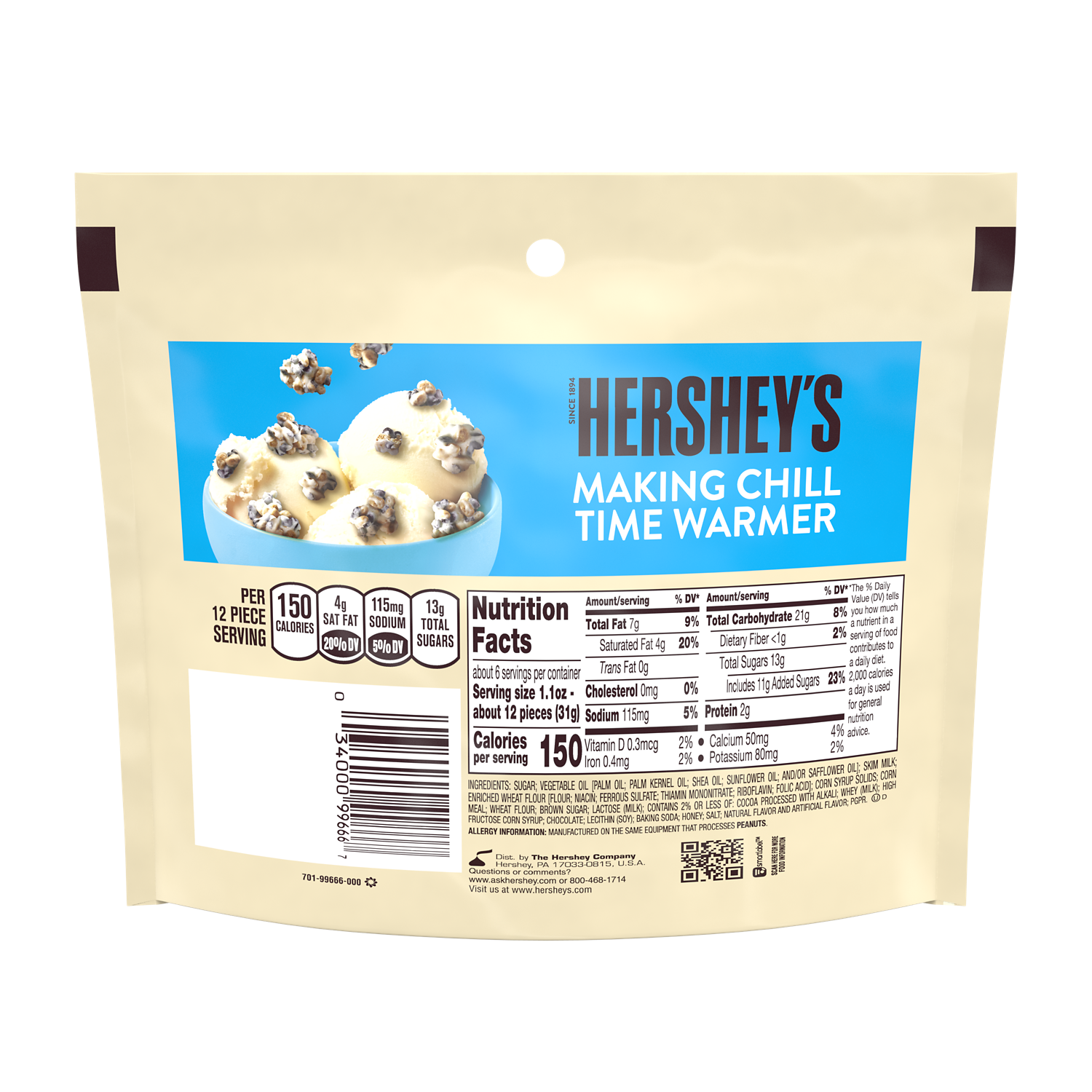HERSHEY'S COOKIES 'N' CREME CRUNCHERS Candy, 6.1 oz bag - Back of Package