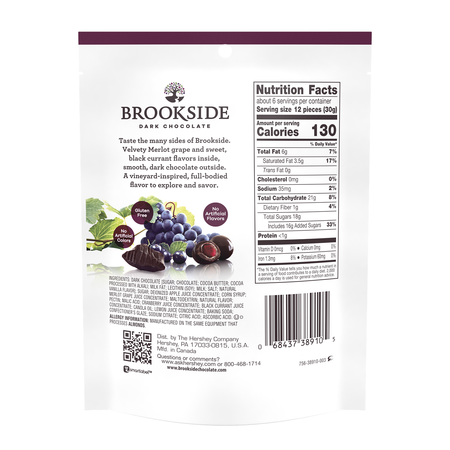 BROOKSIDE Dark Chocolate Vineyard Inspired Merlot Grape and Black Currant Flavors Candy, 6 oz bag - Back of Package