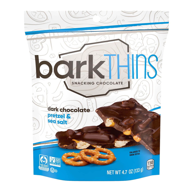 barkTHINS Dark Chocolate Pretzel & Sea Salt Snacking Chocolate, 4.7 oz bag - Front of Package