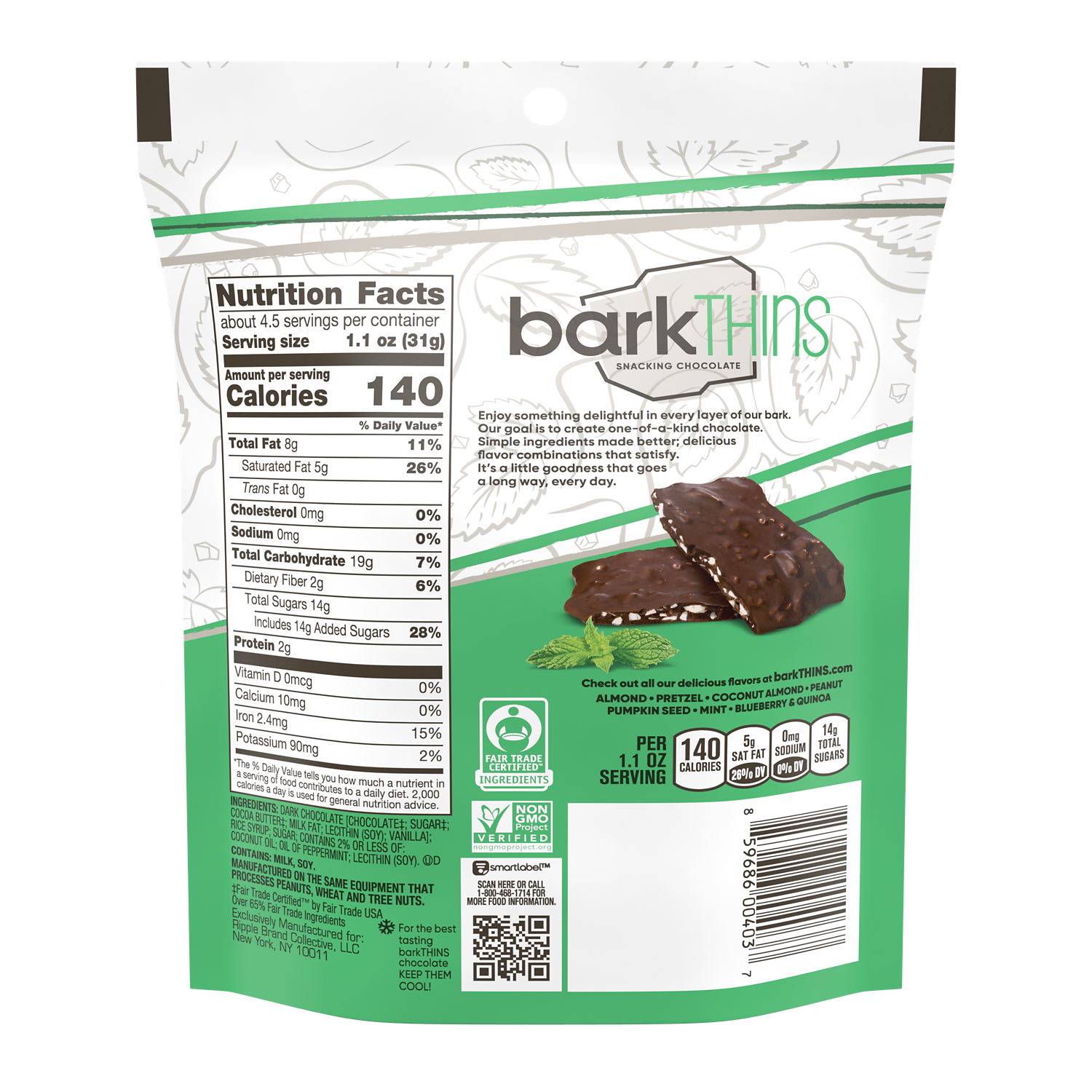 barkTHINS Dark Chocolate Mint Snacking Chocolate, 4.7 oz bag - Back of Package