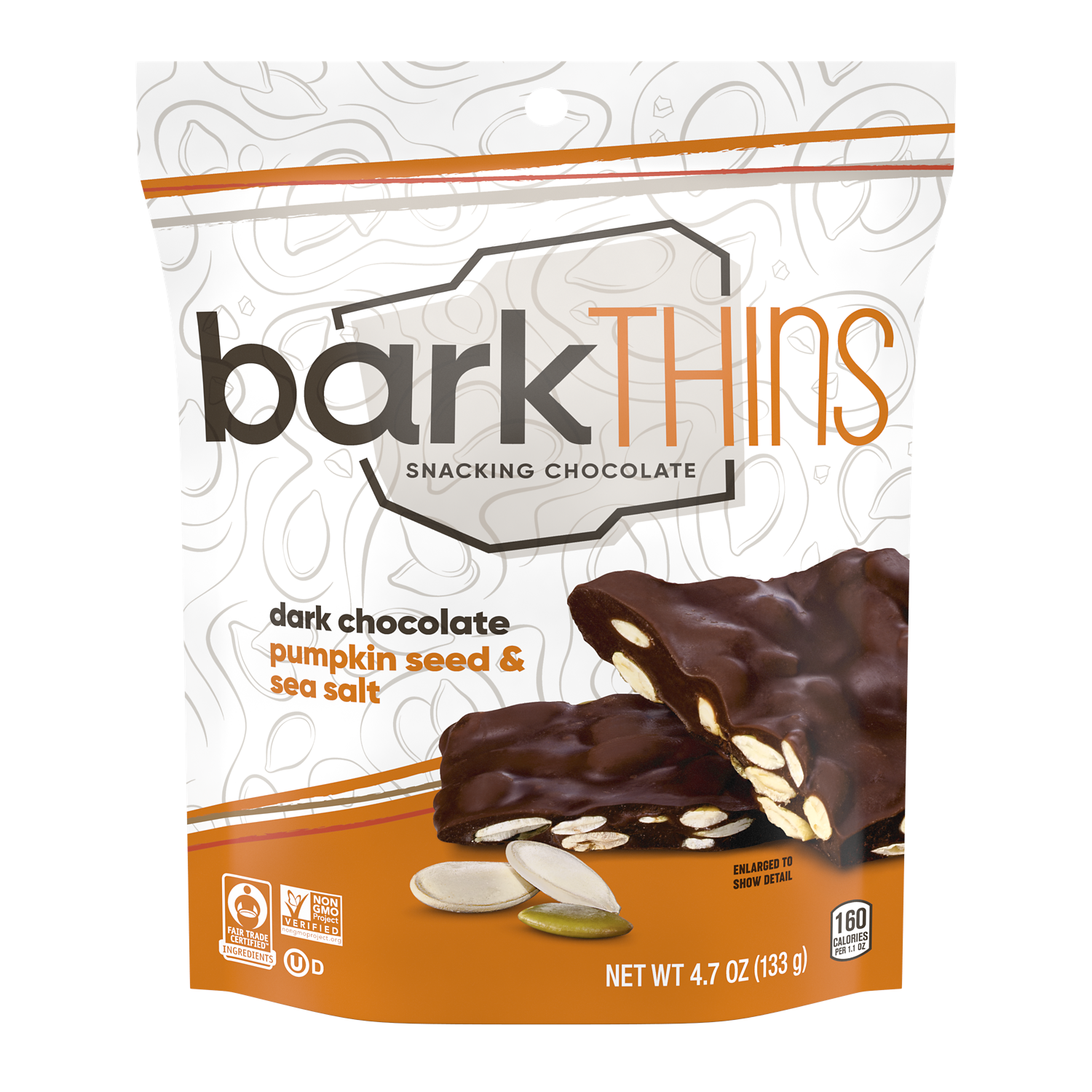 barkTHINS Dark Chocolate Pumpkin Seed & Sea Salt Snacking Chocolate, 4.7 oz bag - Front of Package