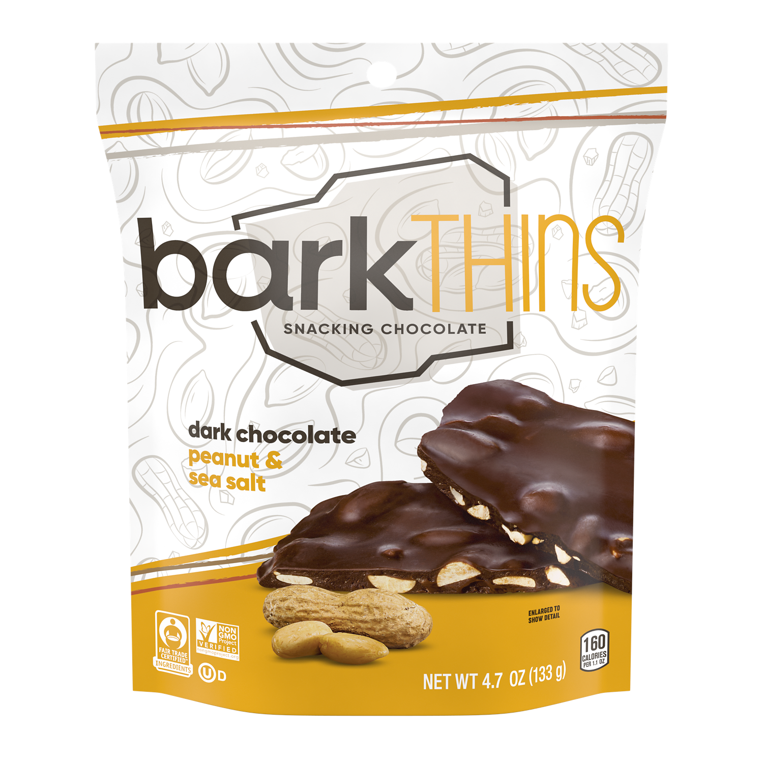 barkTHINS Dark Chocolate Peanut & Sea Salt Snacking Chocolate, 4.7 oz bag - Front of Package