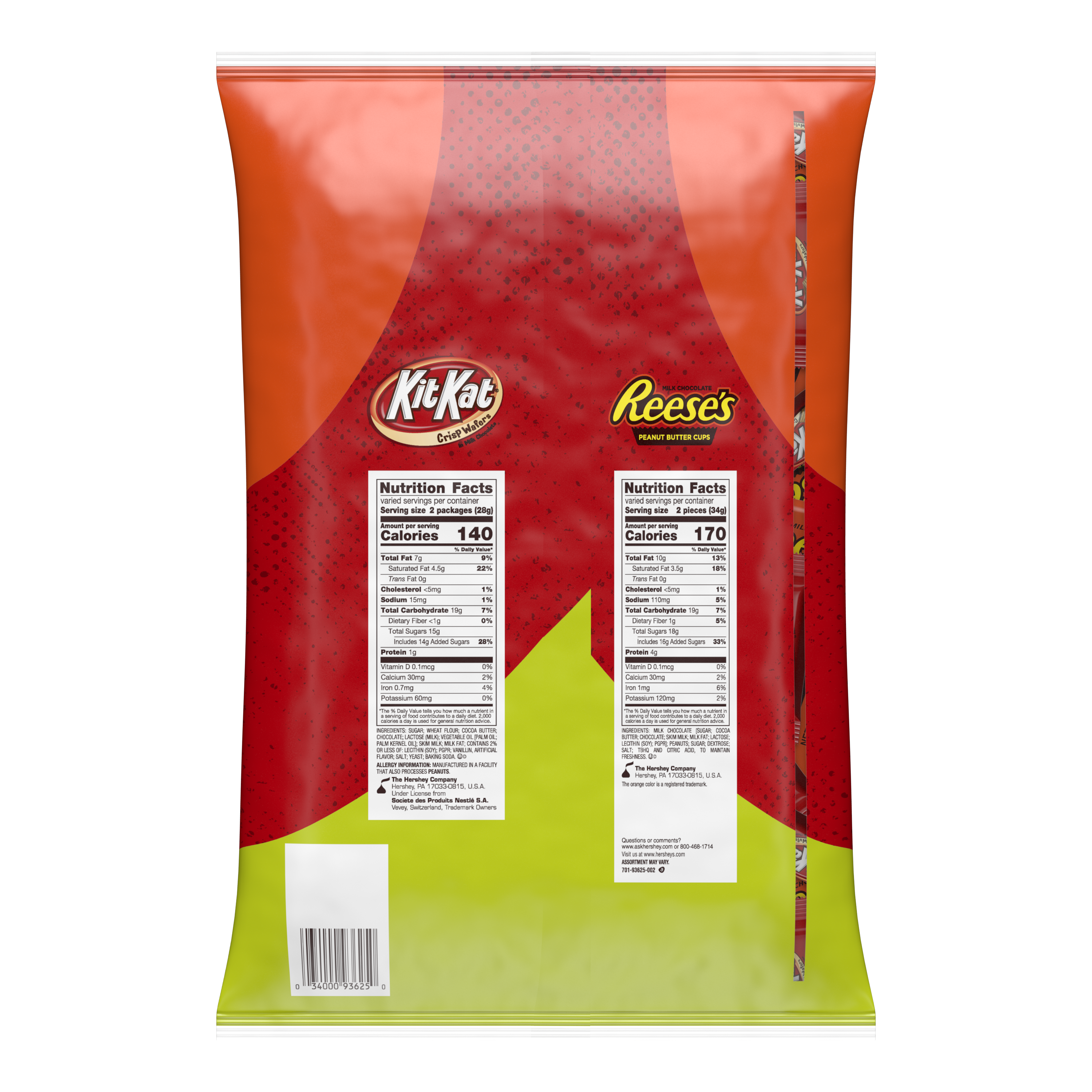REESE'S & KIT KAT® Snack Size Assortment, 45.38 oz bag, 85 pieces - Back of Package