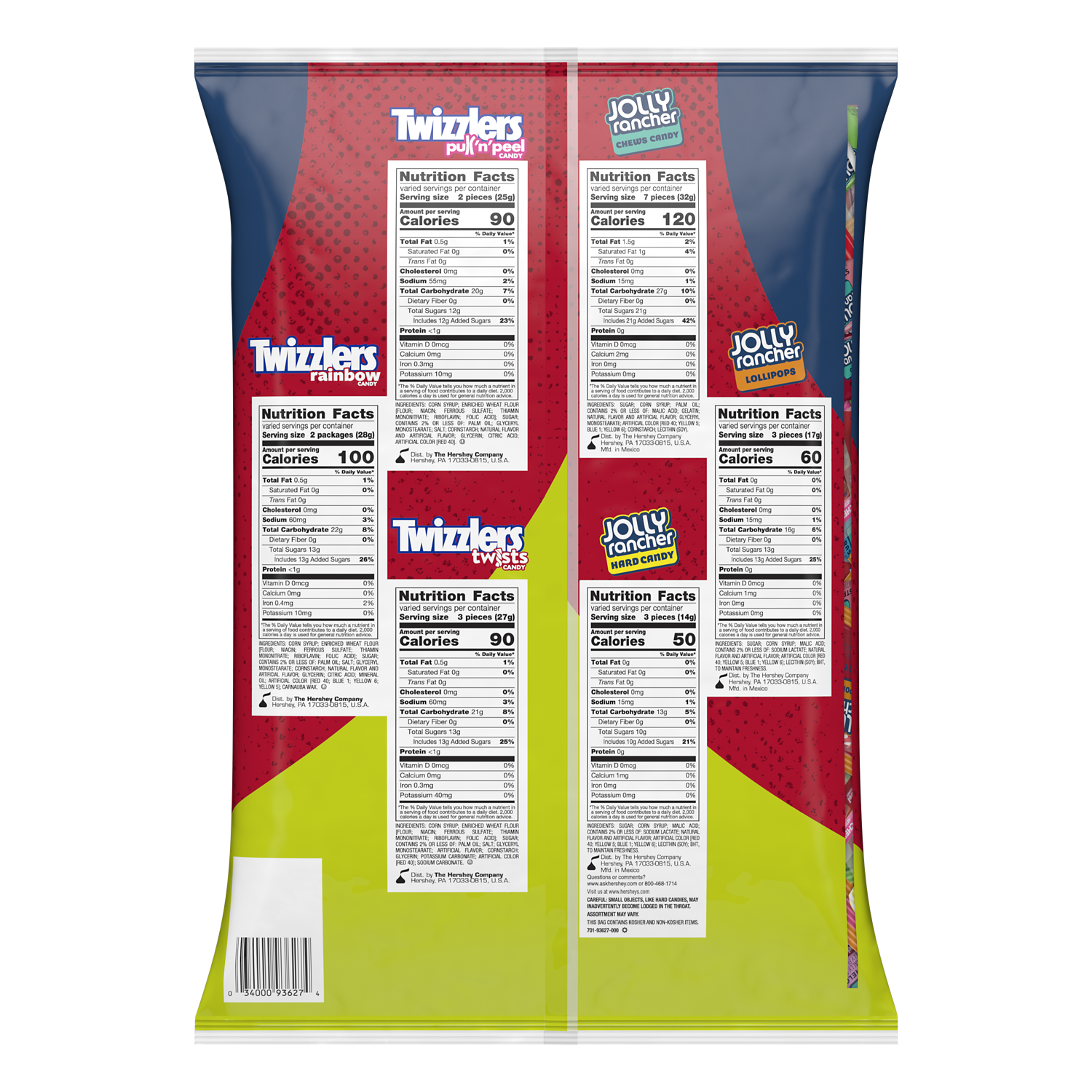 JOLLY RANCHER TWIZZLERS Candy Assortment, 68.83 oz bag, 235 pieces - Back of Package