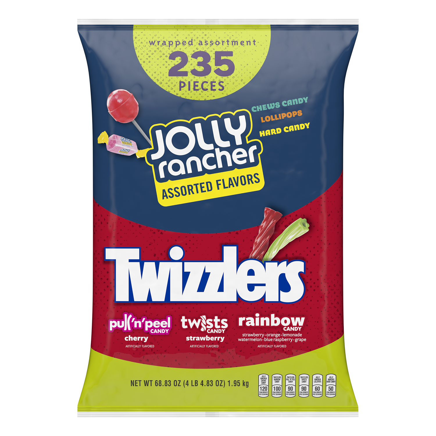 JOLLY RANCHER TWIZZLERS Candy Assortment, 68.83 oz bag, 235 pieces - Front of Package