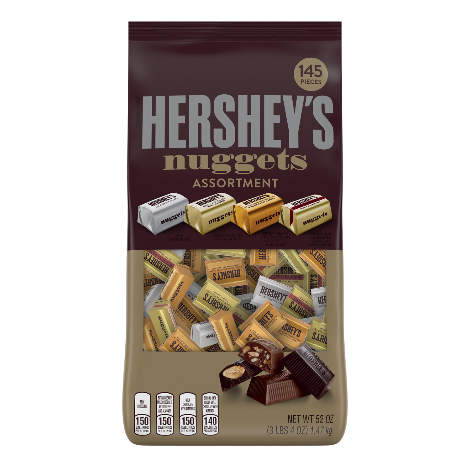 HERSHEY'S NUGGETS Assortment, 52 oz bag, 145 pieces - Front of Package