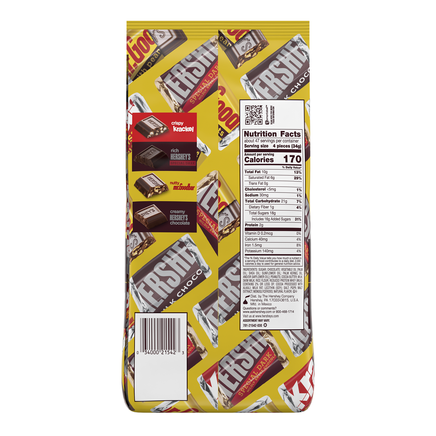 HERSHEY'S Miniatures Assortment, 56 oz bag, 180 pieces - Back of Package