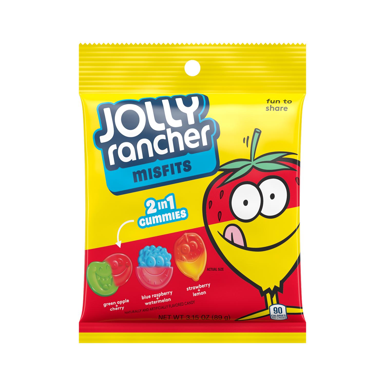 JOLLY RANCHER MISFITS Green Apple Cherry, Blue Raspberry Watermelon, Strawberry Lemon Gummies, 3.15 oz bag - Front of Package