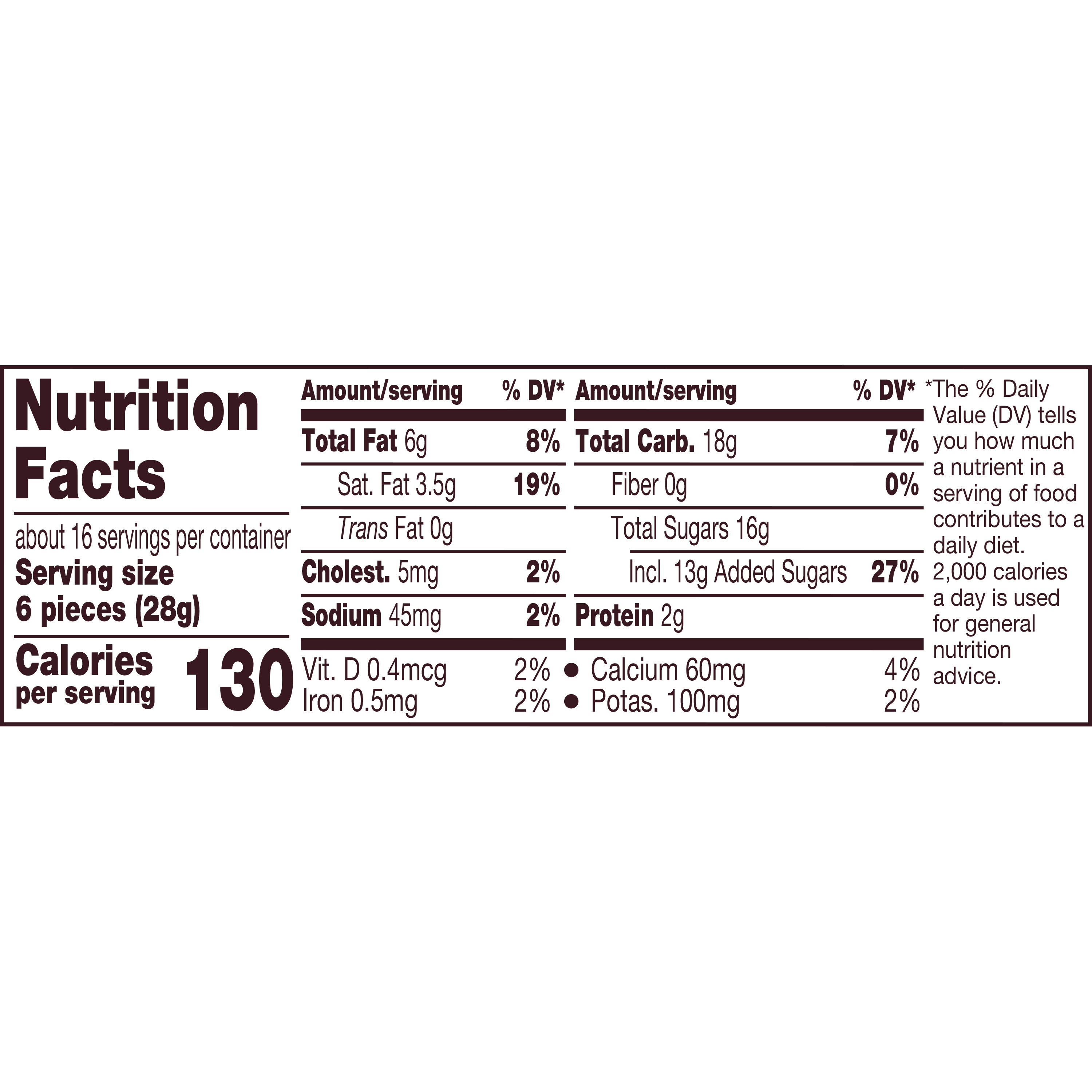HERSHEY'S KISSES Milk Chocolate Filled with Caramel Candy, 16 oz pack - Nutritional Facts