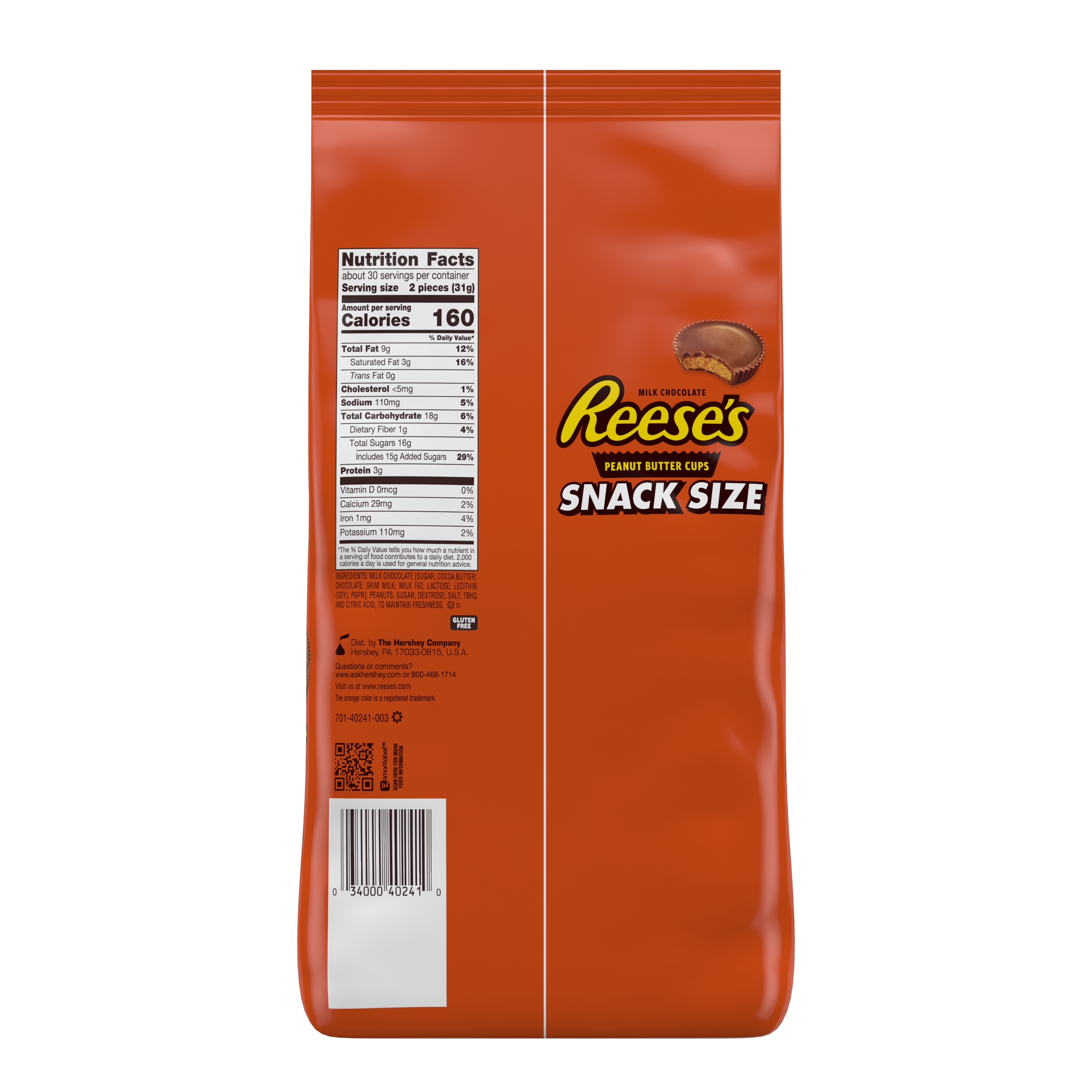 REESE'S Milk Chocolate Snack Size Peanut Butter Cups, 33 oz bag, 60 pieces - Back of Package