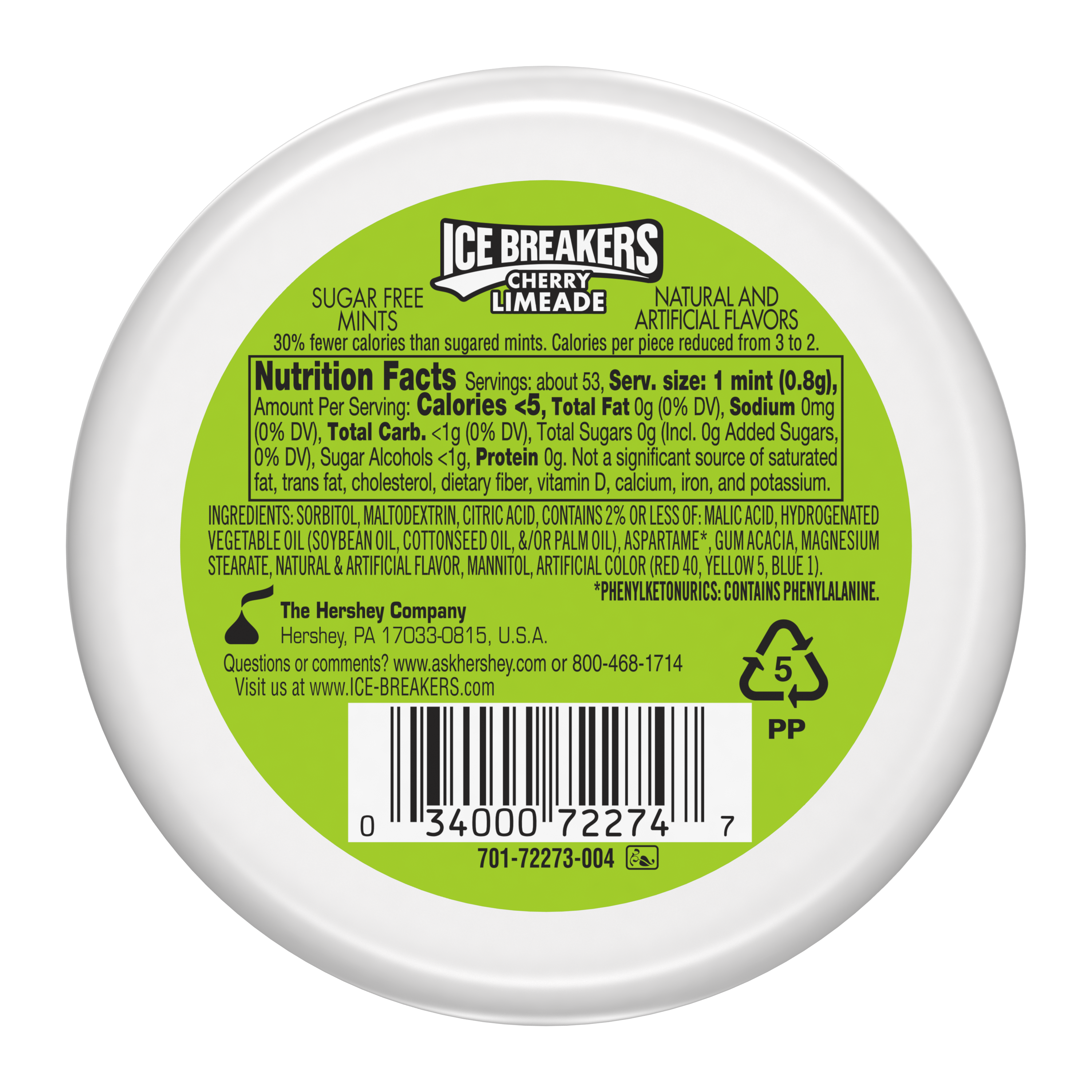 ICE BREAKERS Cherry Limeade Sugar Free Mints, 1.5 oz puck - Back of Package
