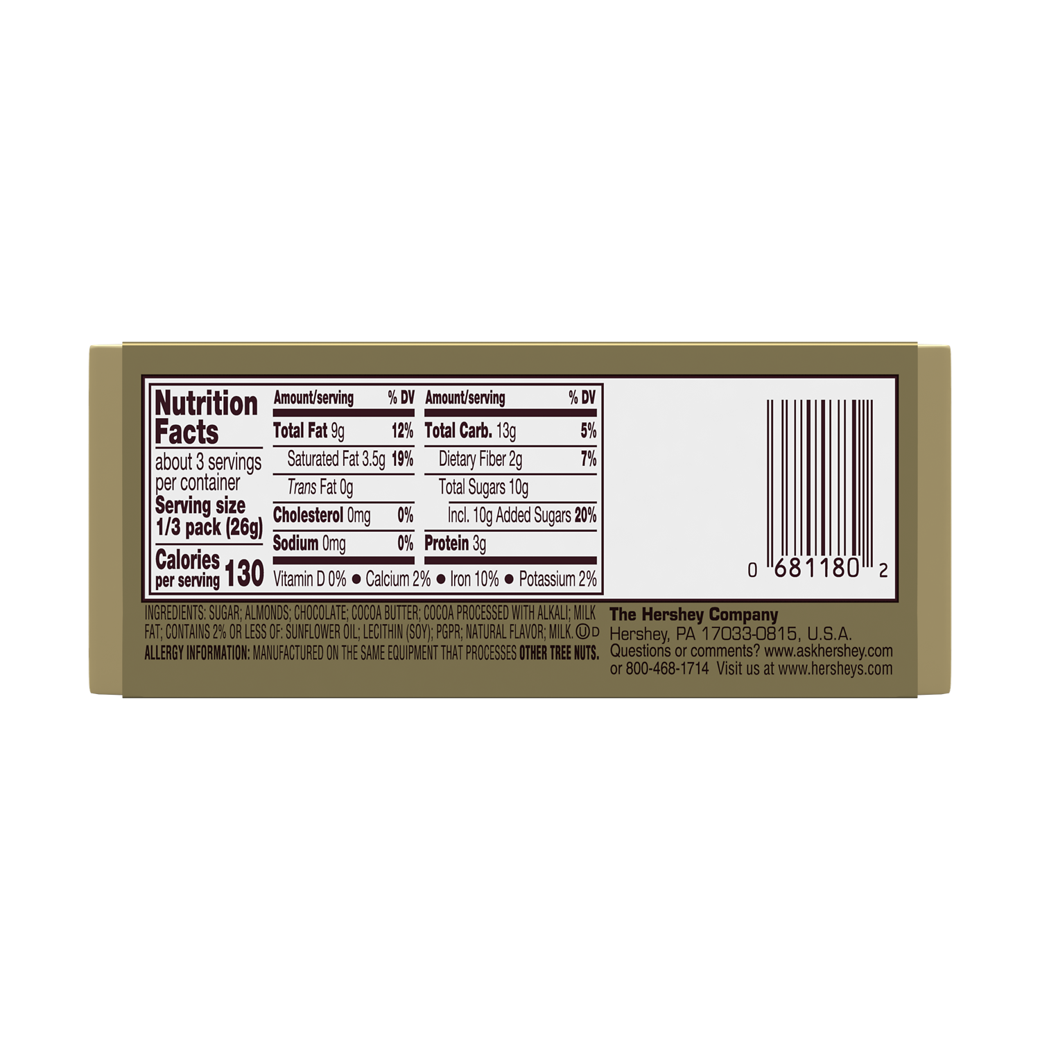 HERSHEY'S GOLDEN ALMOND Dark Chocolate Candy Bars, 2.8 oz, 5 pack - Back of Package