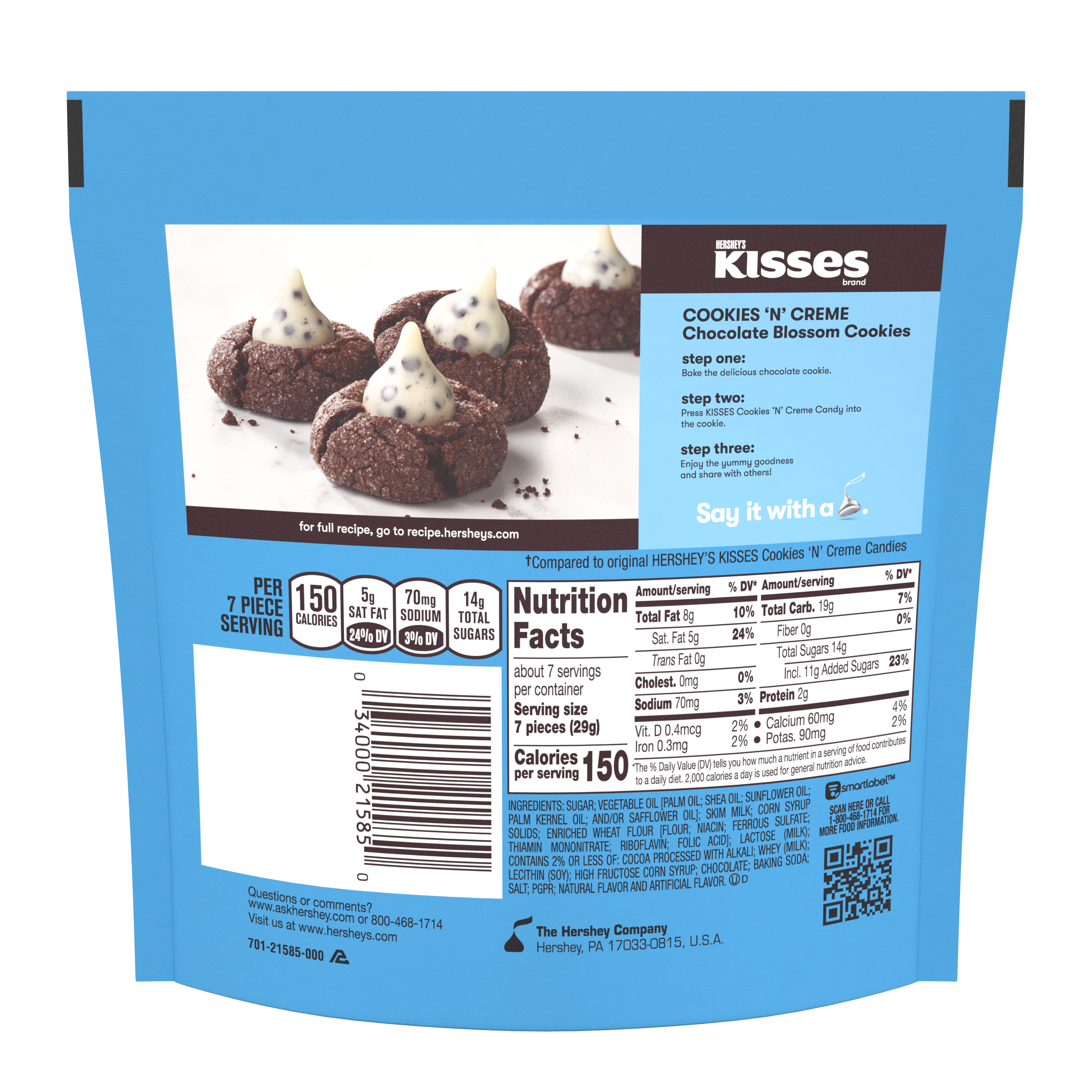 HERSHEY'S KISSES COOKIES 'N' CREME Candy, 7.6 oz pack - Back of Package