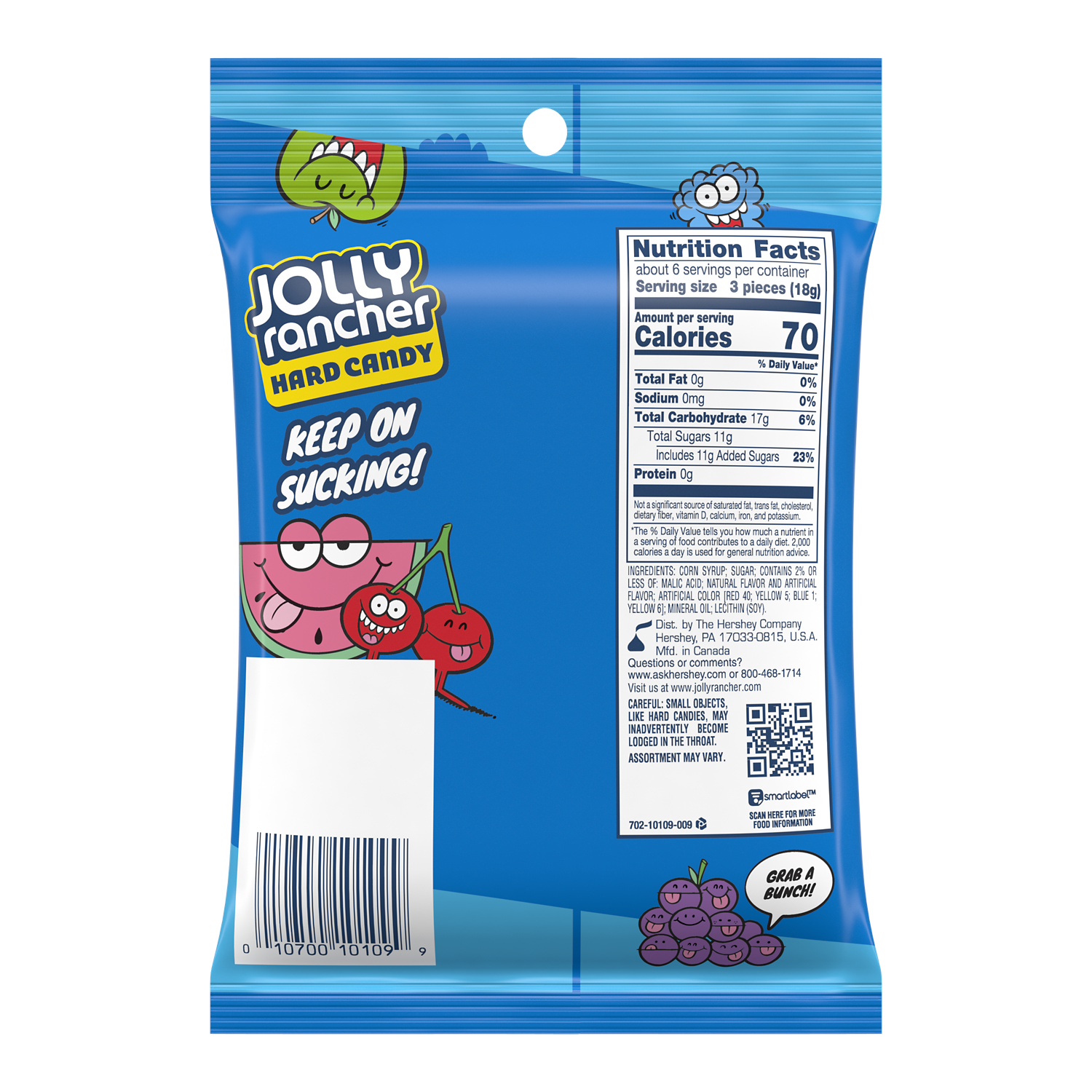 JOLLY RANCHER Original Flavors Hard Candy, 3.8 oz bag - Back of Package
