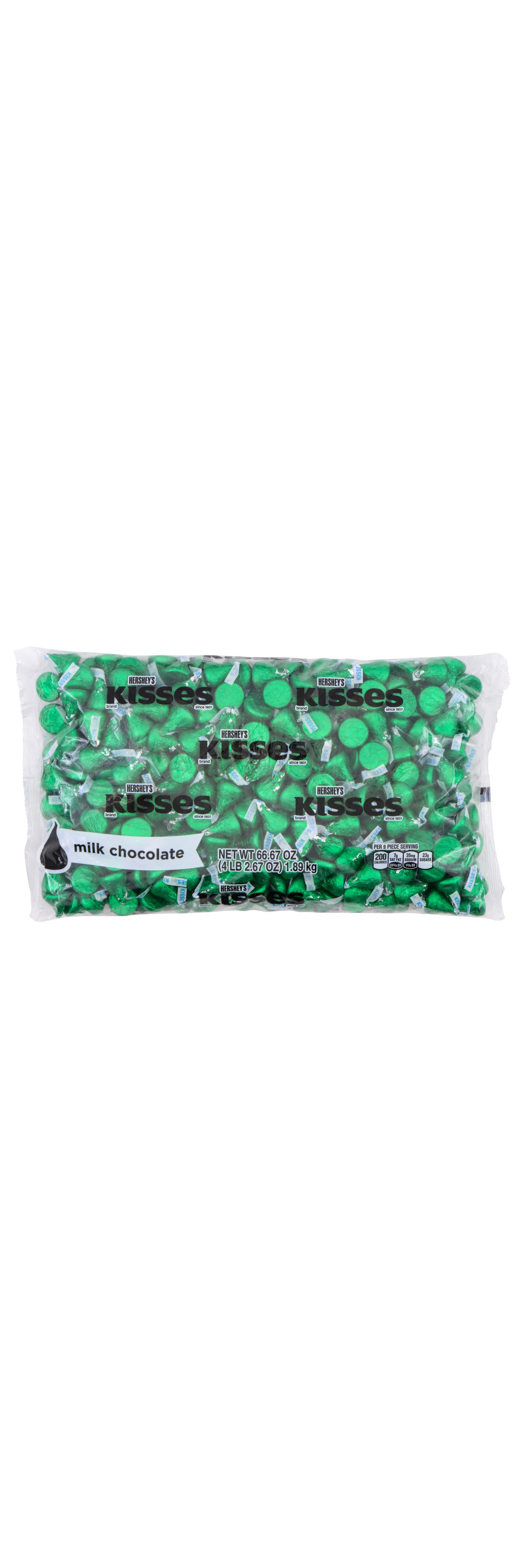 HERSHEY'S KISSES Dark Green Foil Milk Chocolate Candy, 66.67 oz bag, 400 pieces - Front of Package