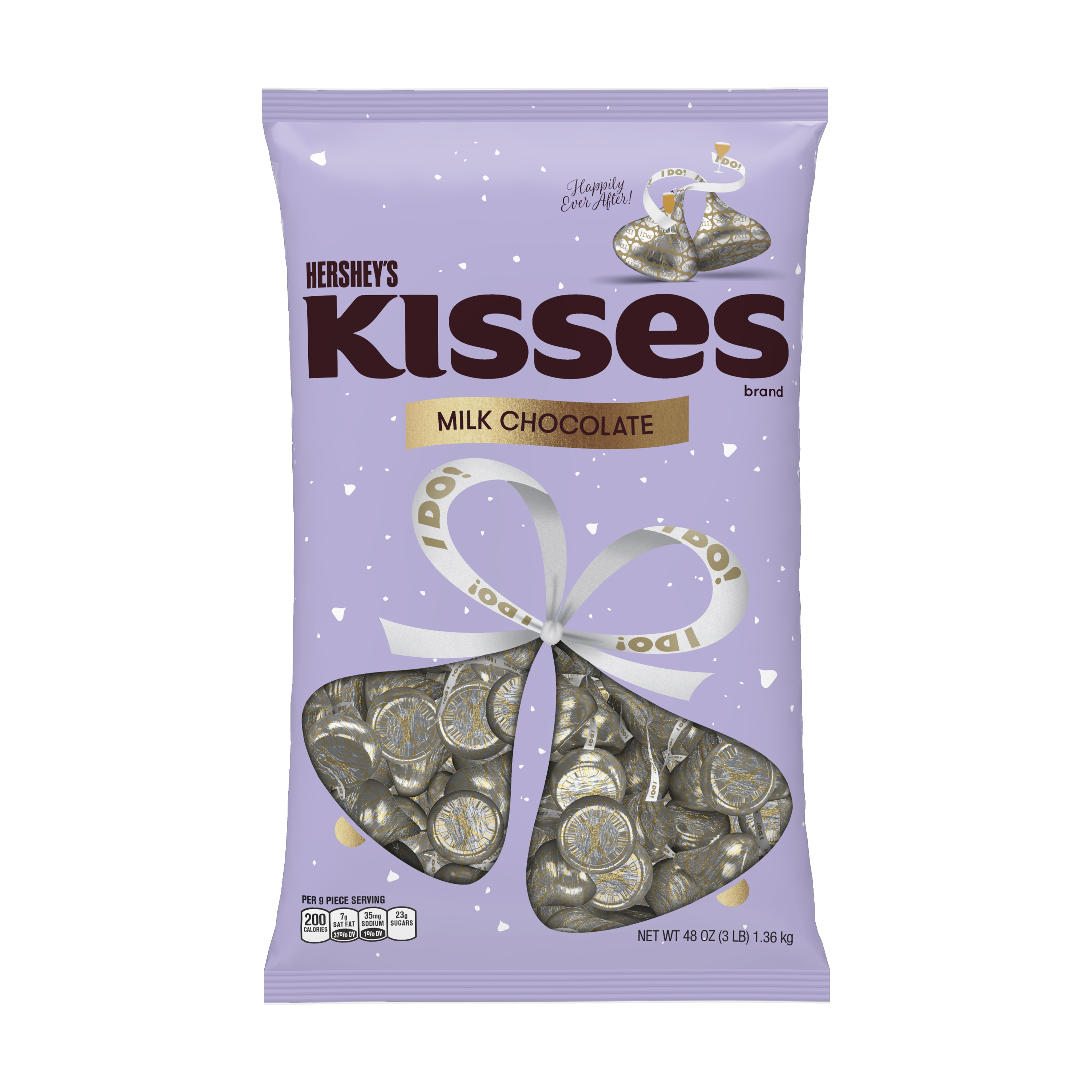 """HERSHEY'S KISSES Wedding """"I do"""" Milk Chocolate Candy, 48 oz bag - Front of Package"""