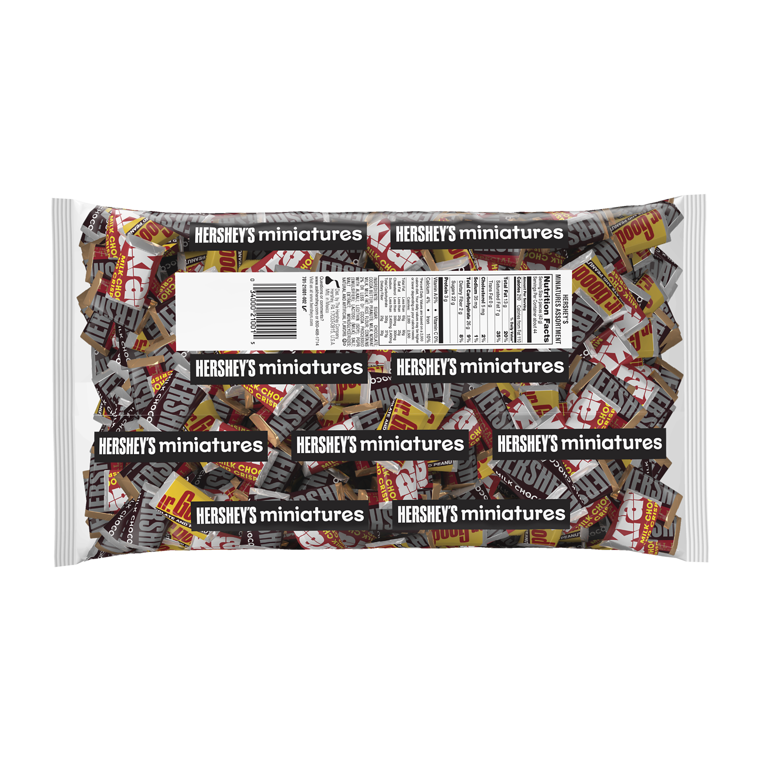 HERSHEY'S Miniatures Assortment, 66.7 oz bag - Back of Package