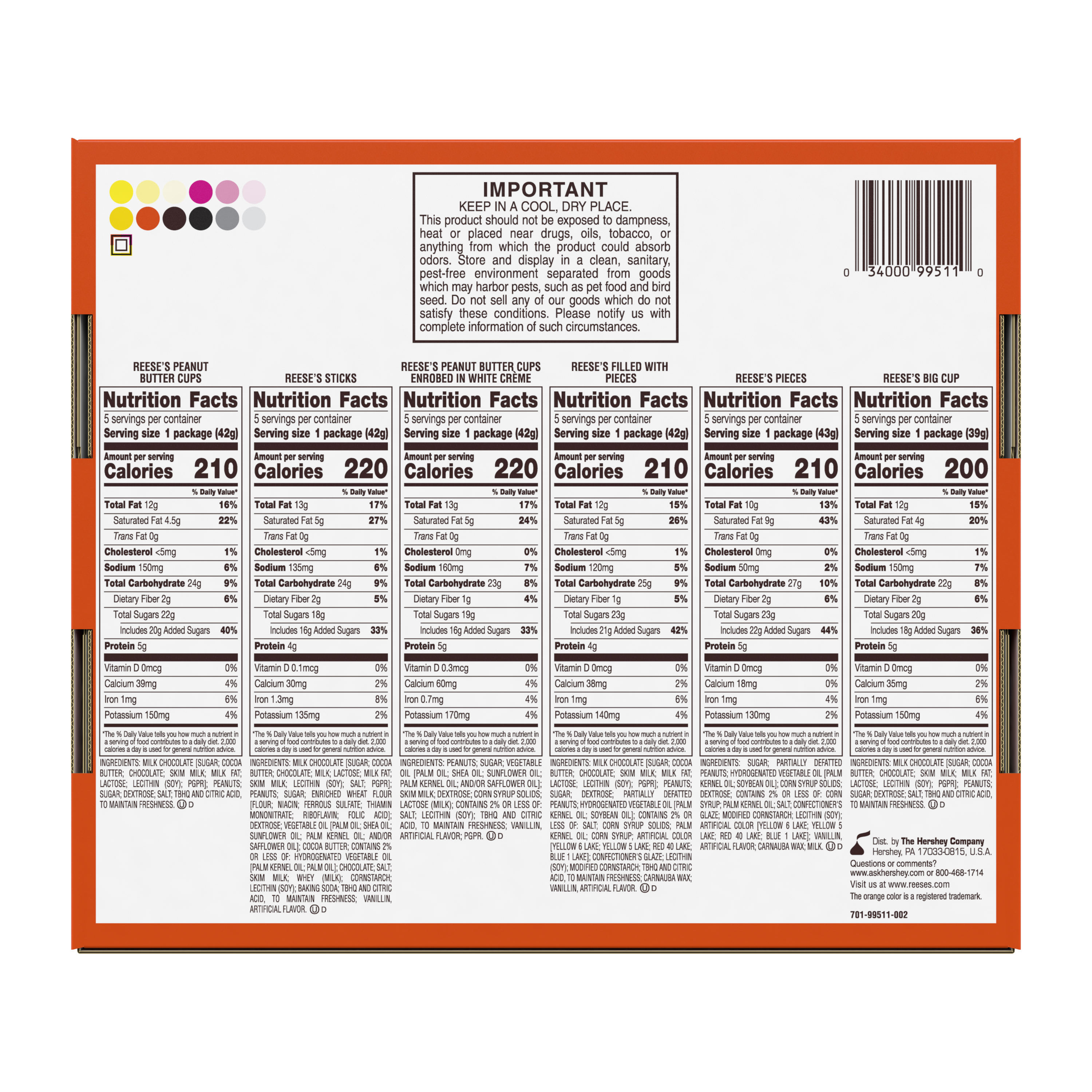 REESE'S Variety Peanut Butter Candy Bars, 44.65 oz box, 30 pack - Back of Package